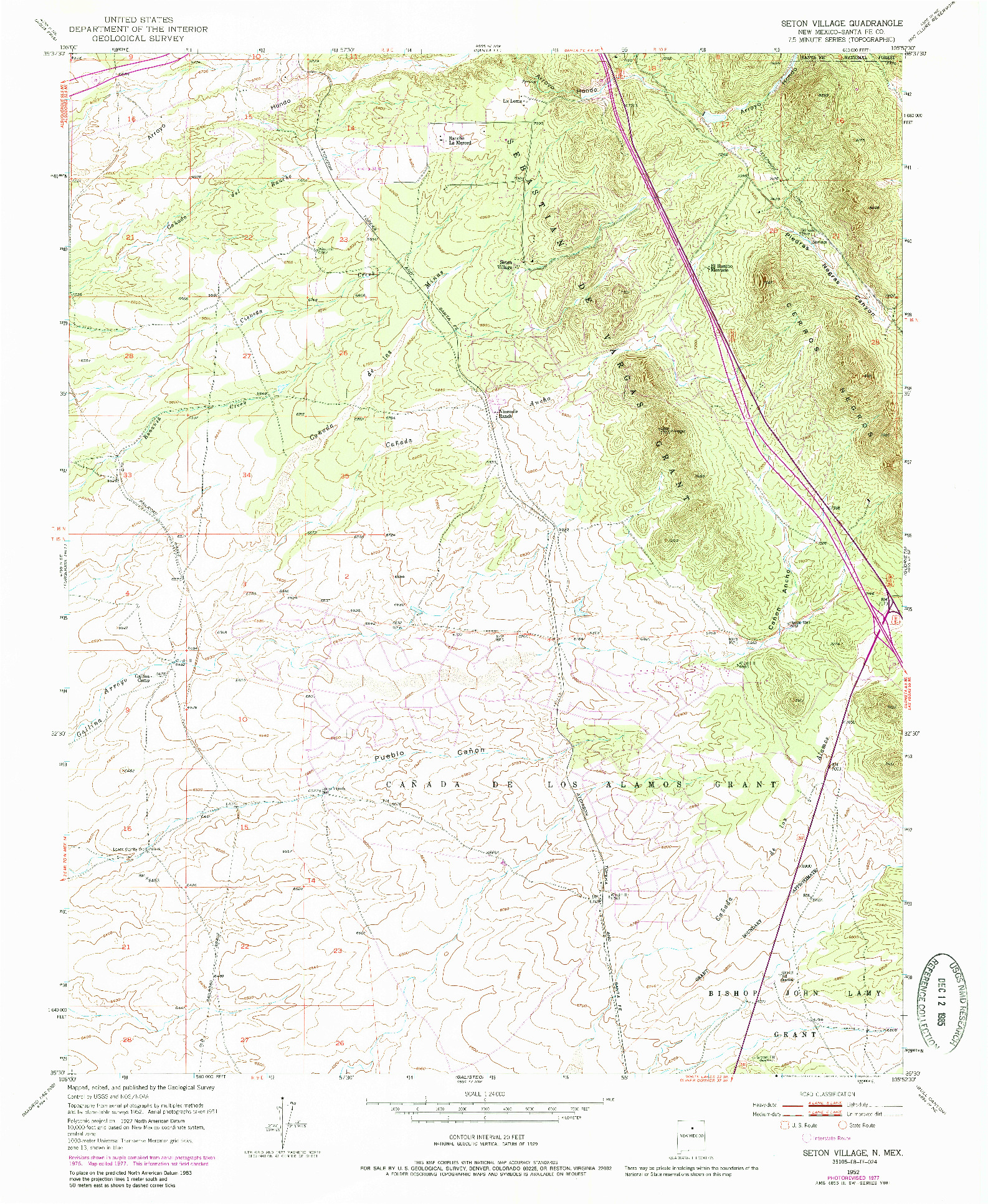USGS 1:24000-SCALE QUADRANGLE FOR SETON VILLAGE, NM 1952