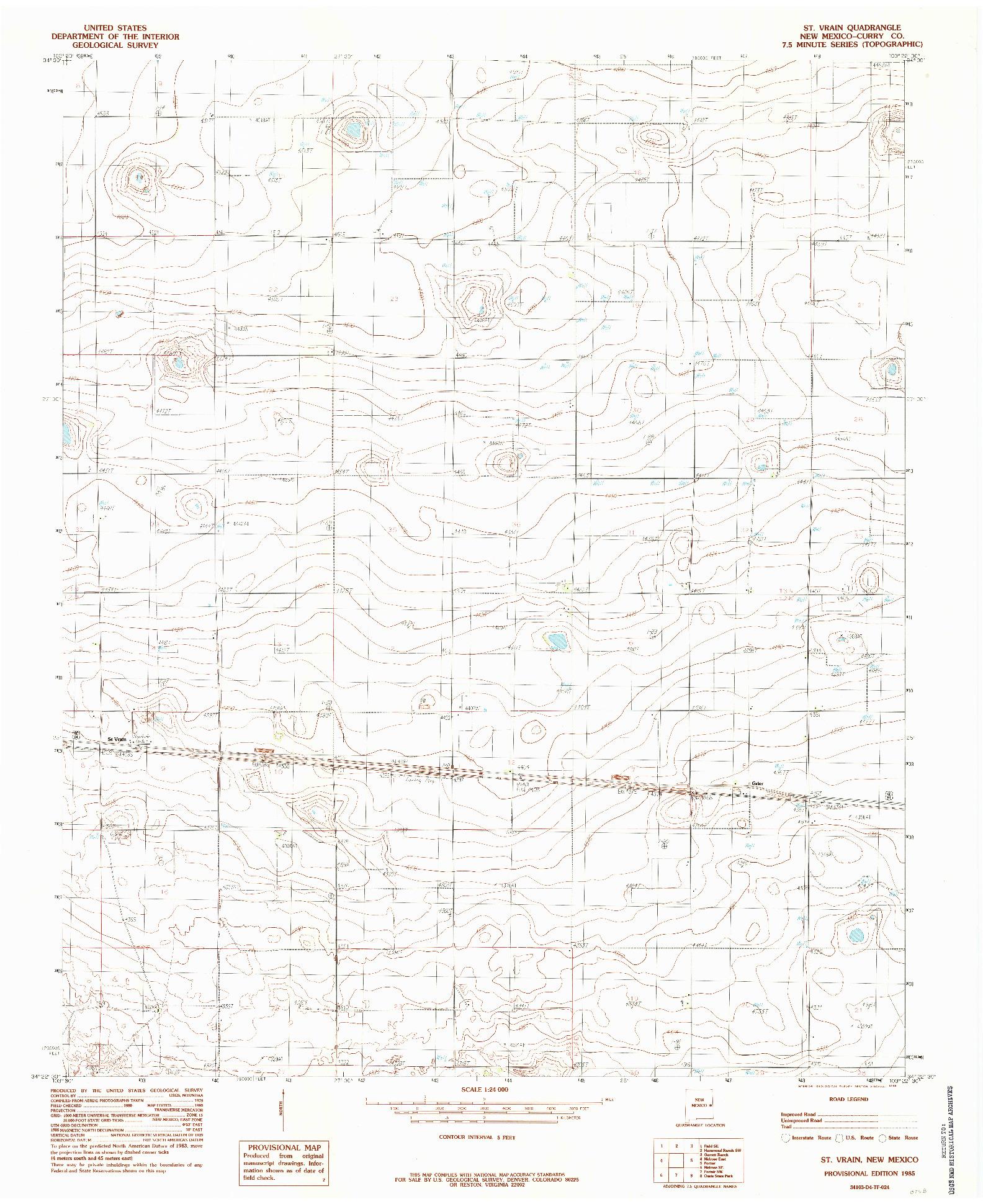 USGS 1:24000-SCALE QUADRANGLE FOR ST VRAIN, NM 1985