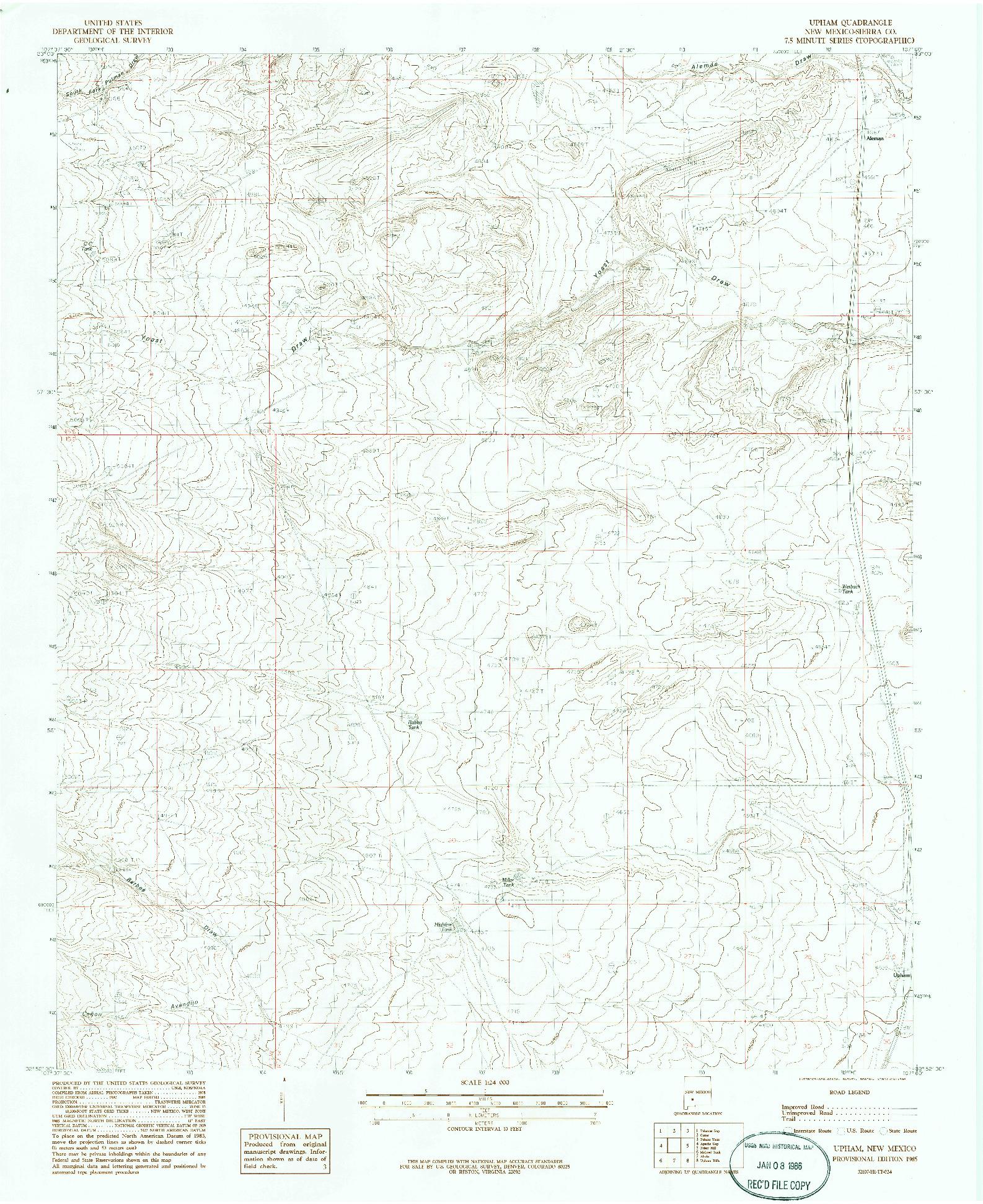 USGS 1:24000-SCALE QUADRANGLE FOR UPHAM, NM 1985