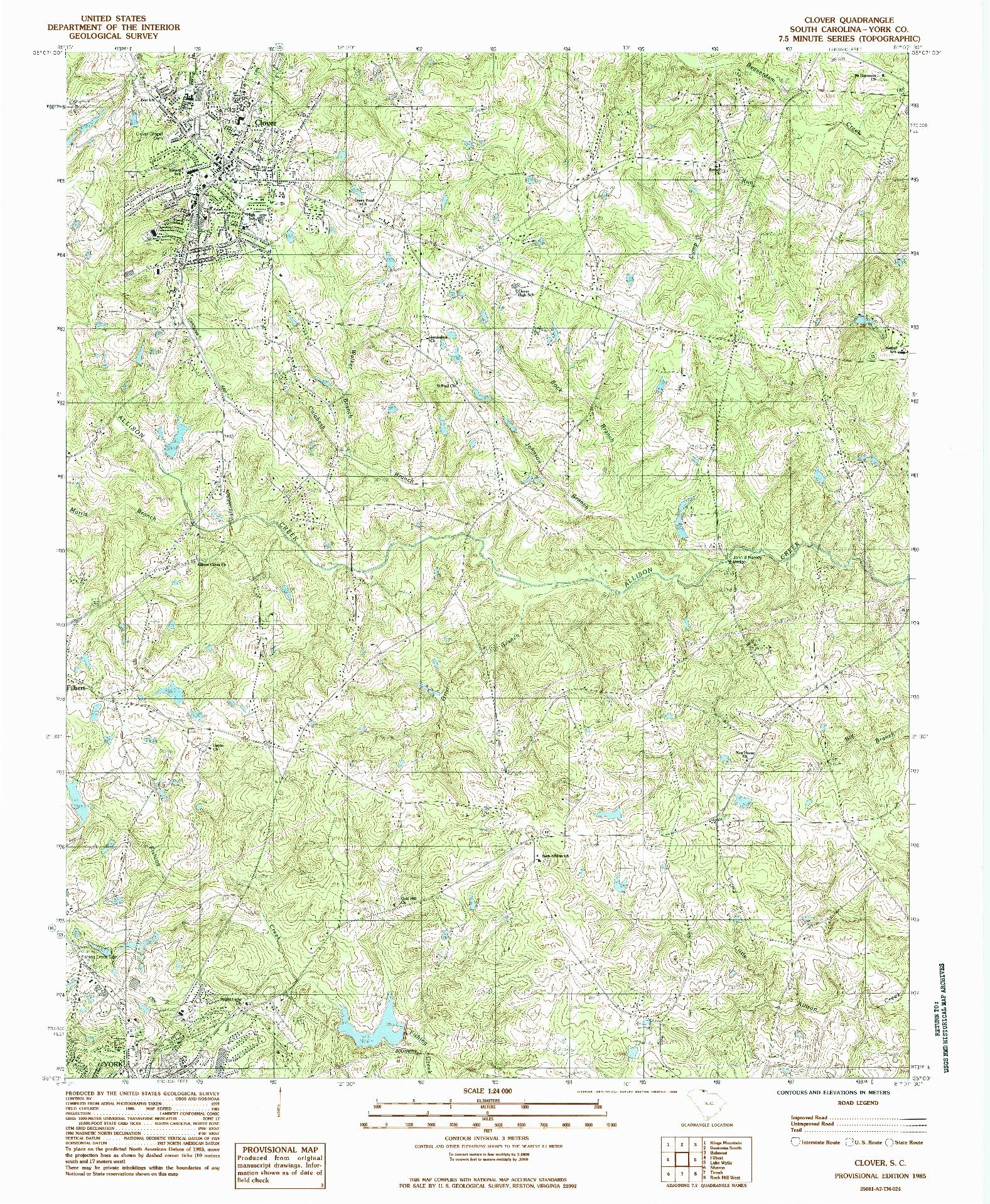 USGS 1:24000-SCALE QUADRANGLE FOR CLOVER, SC 1985