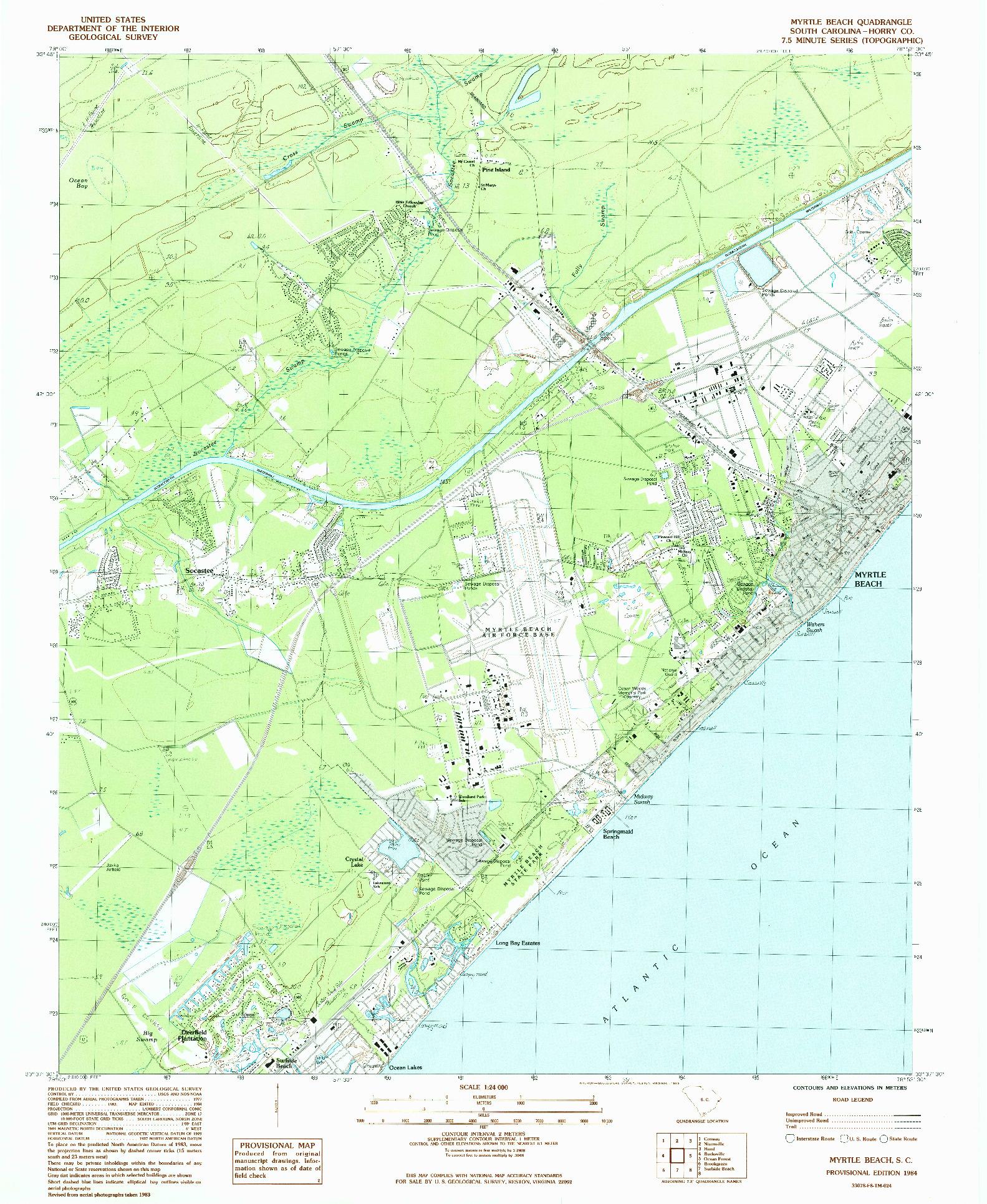 USGS 1:24000-SCALE QUADRANGLE FOR MYRTLE BEACH, SC 1984