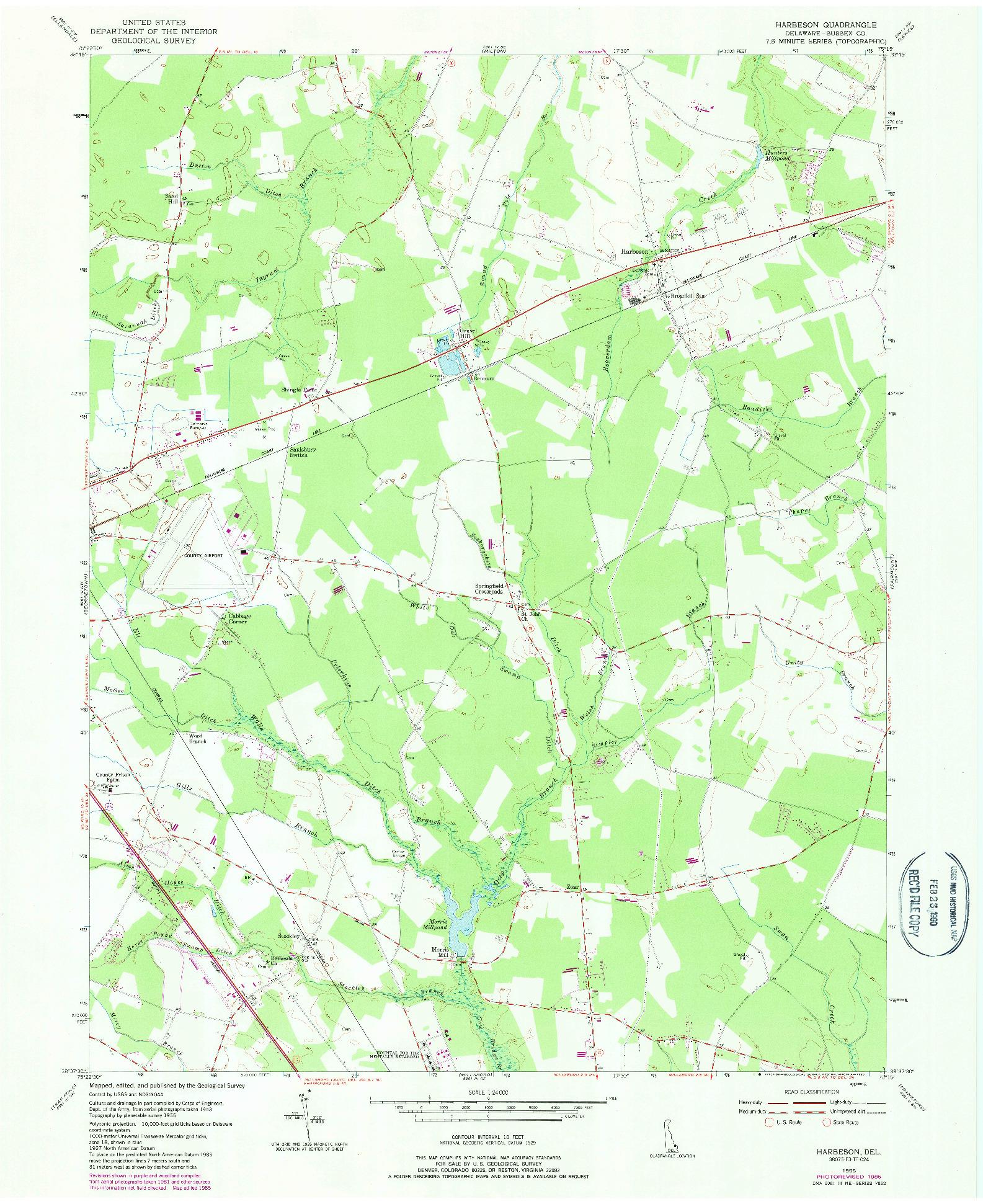USGS 1:24000-SCALE QUADRANGLE FOR HARBESON, DE 1955