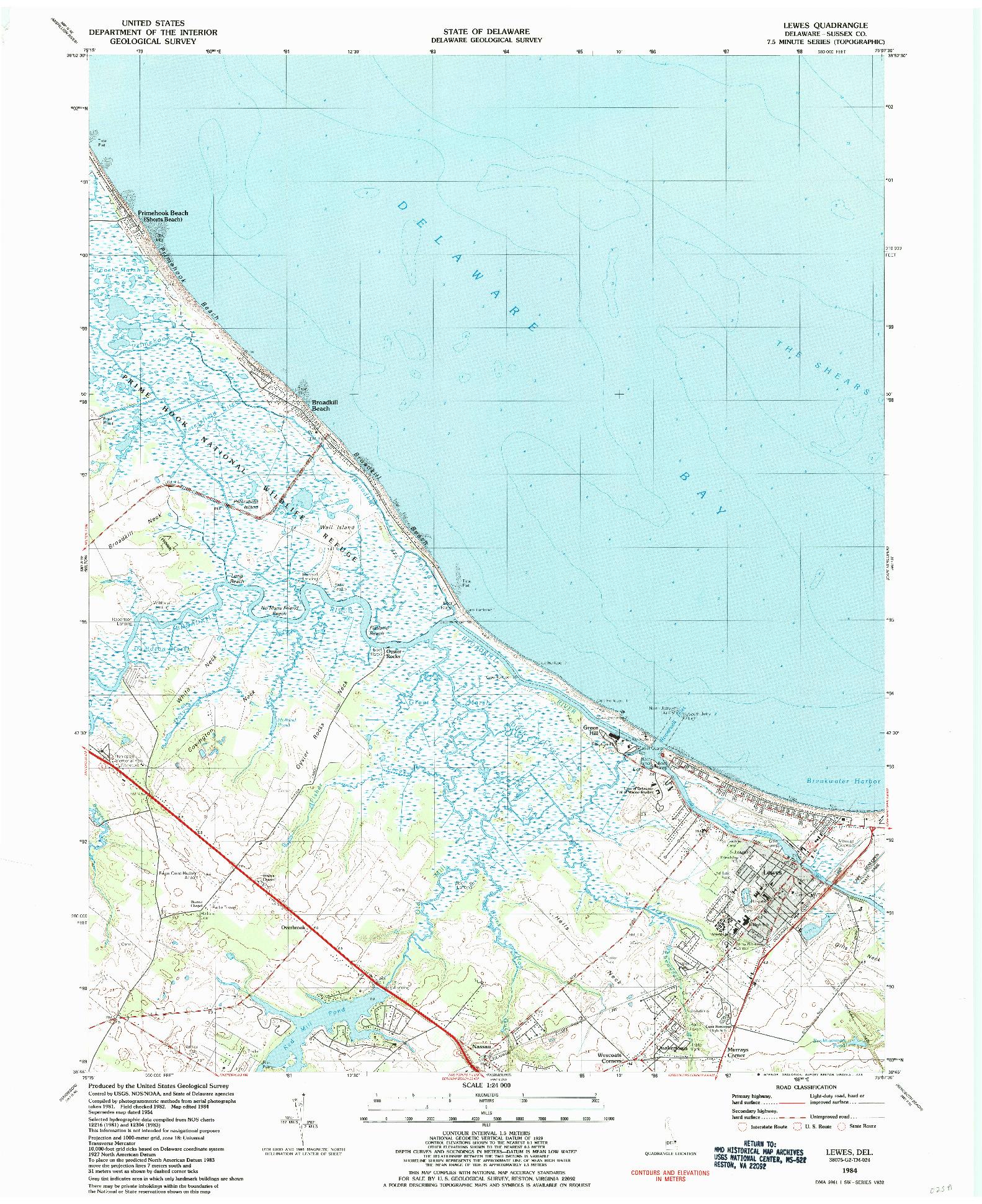 USGS 1:24000-SCALE QUADRANGLE FOR LEWES, DE 1984