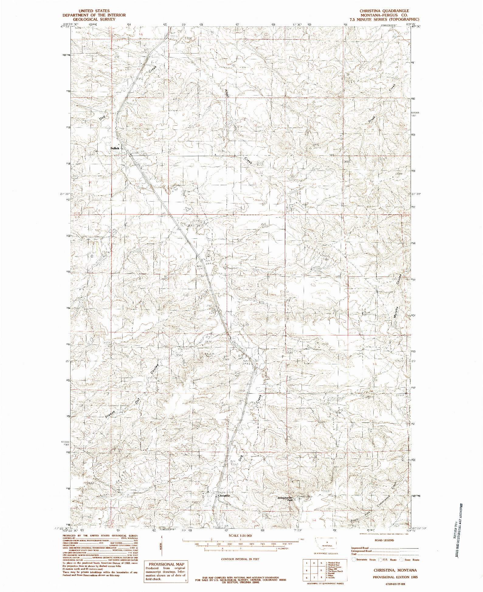 USGS 1:24000-SCALE QUADRANGLE FOR CHRISTINA, MT 1985