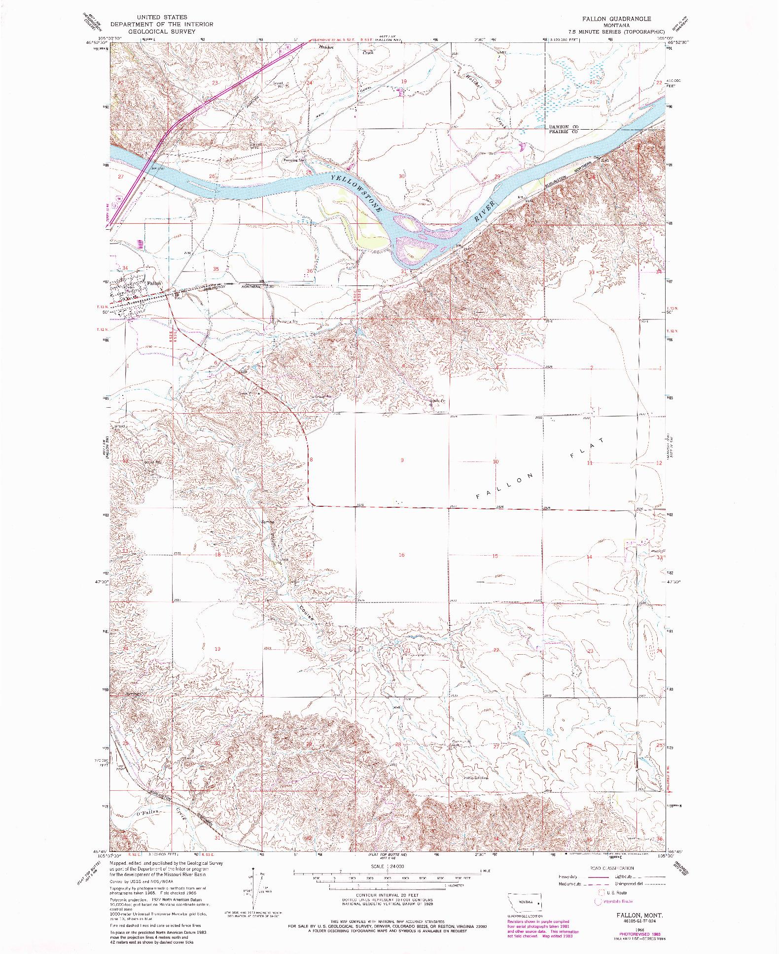 USGS 1:24000-SCALE QUADRANGLE FOR FALLON, MT 1966