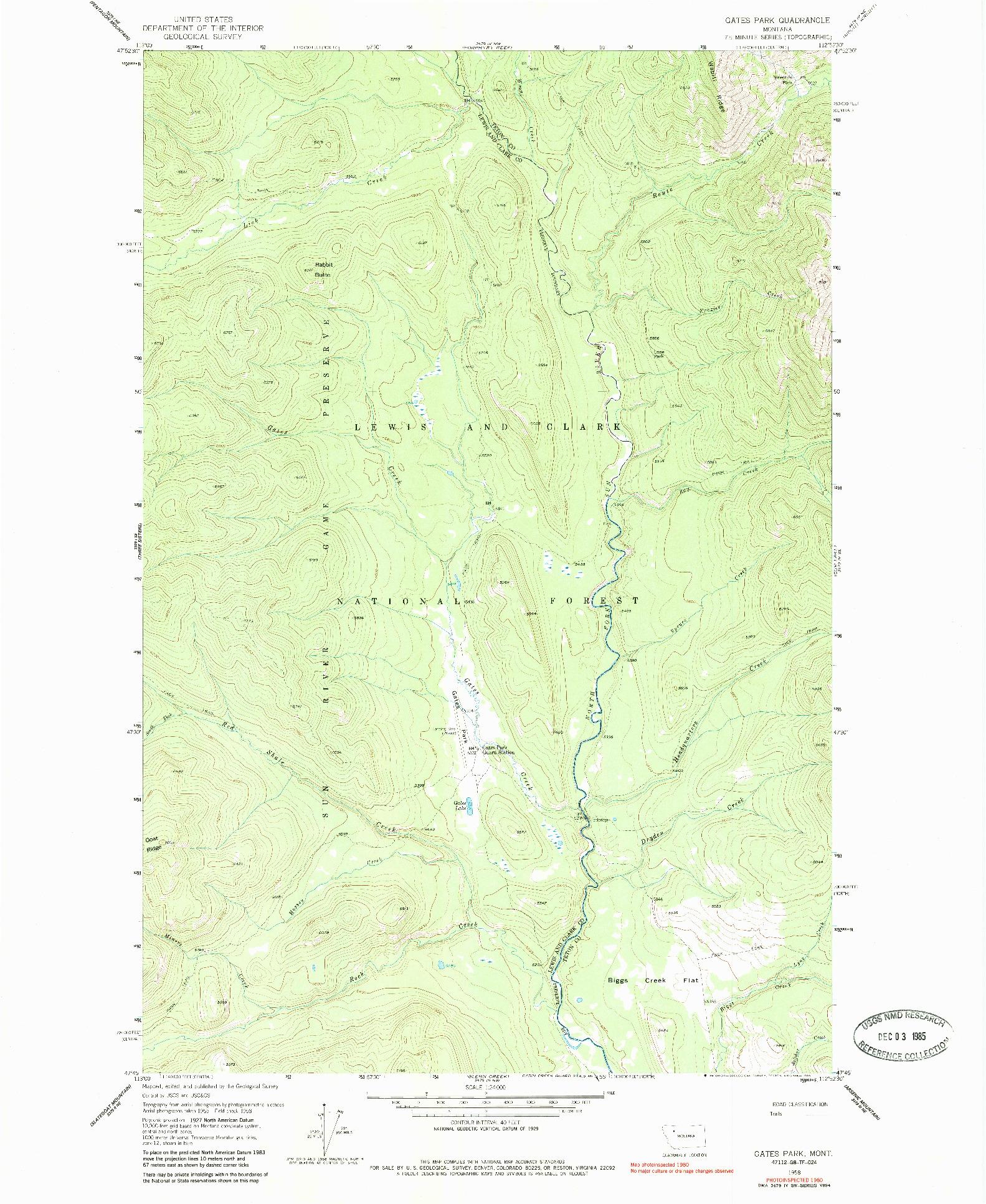 USGS 1:24000-SCALE QUADRANGLE FOR GATES PARK, MT 1958
