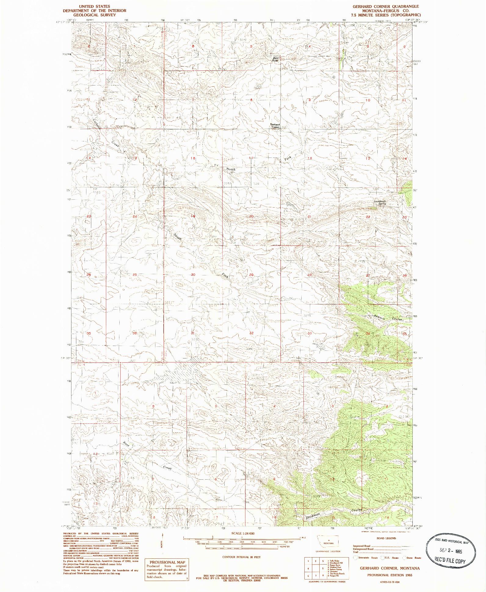 USGS 1:24000-SCALE QUADRANGLE FOR GERHARD CORNER, MT 1985