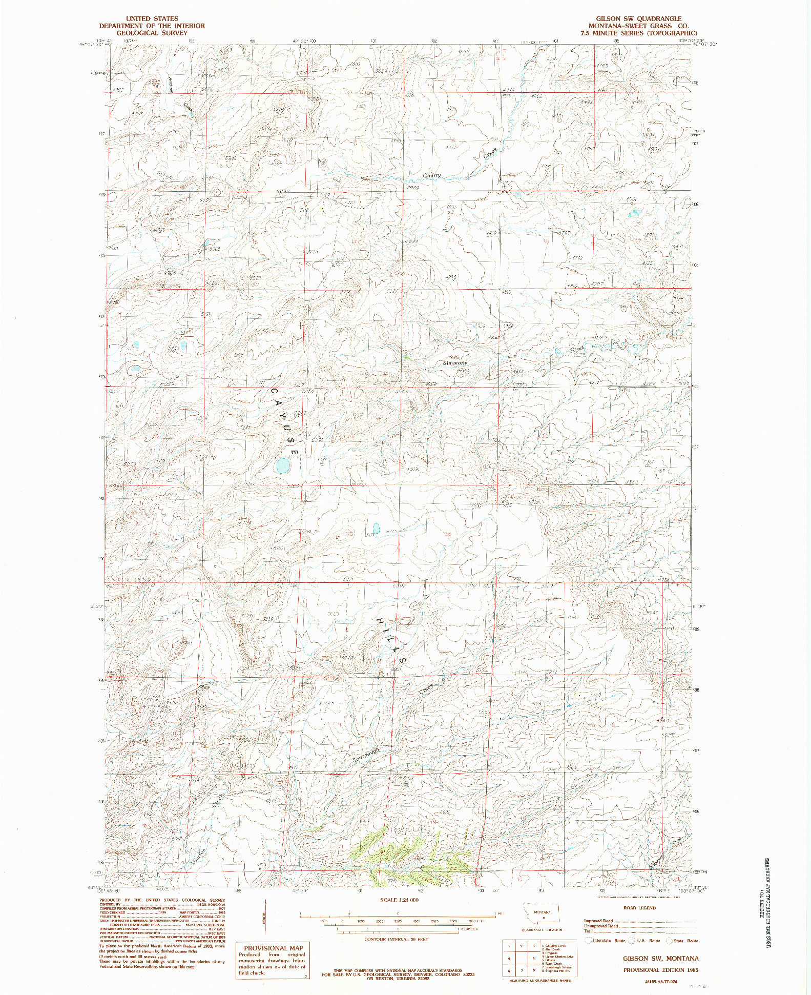 USGS 1:24000-SCALE QUADRANGLE FOR GIBSON SW, MT 1985