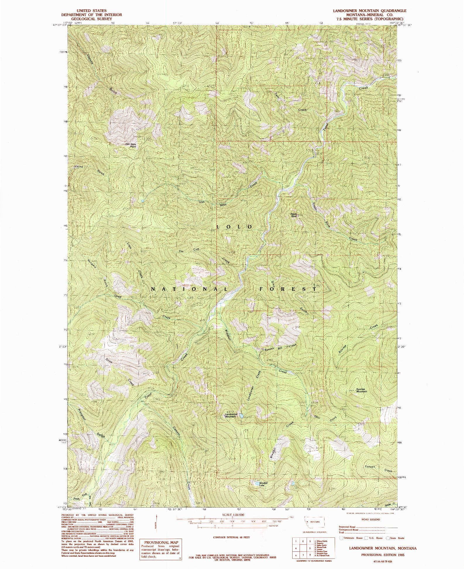 USGS 1:24000-SCALE QUADRANGLE FOR LANDOWNER MOUNTAIN, MT 1985
