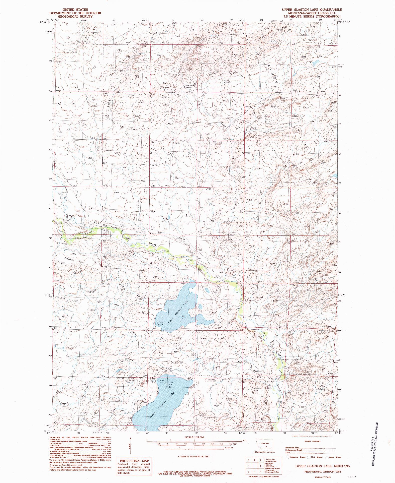 USGS 1:24000-SCALE QUADRANGLE FOR UPPER GLASTON LAKE, MT 1985