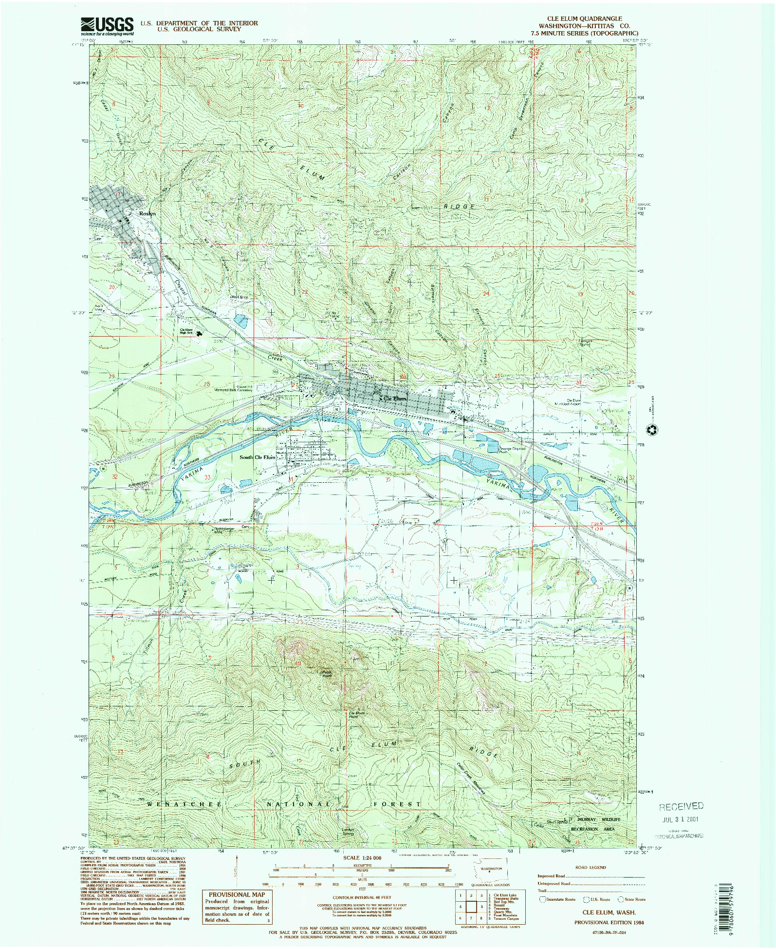 USGS 1:24000-SCALE QUADRANGLE FOR CLE ELUM, WA 1984