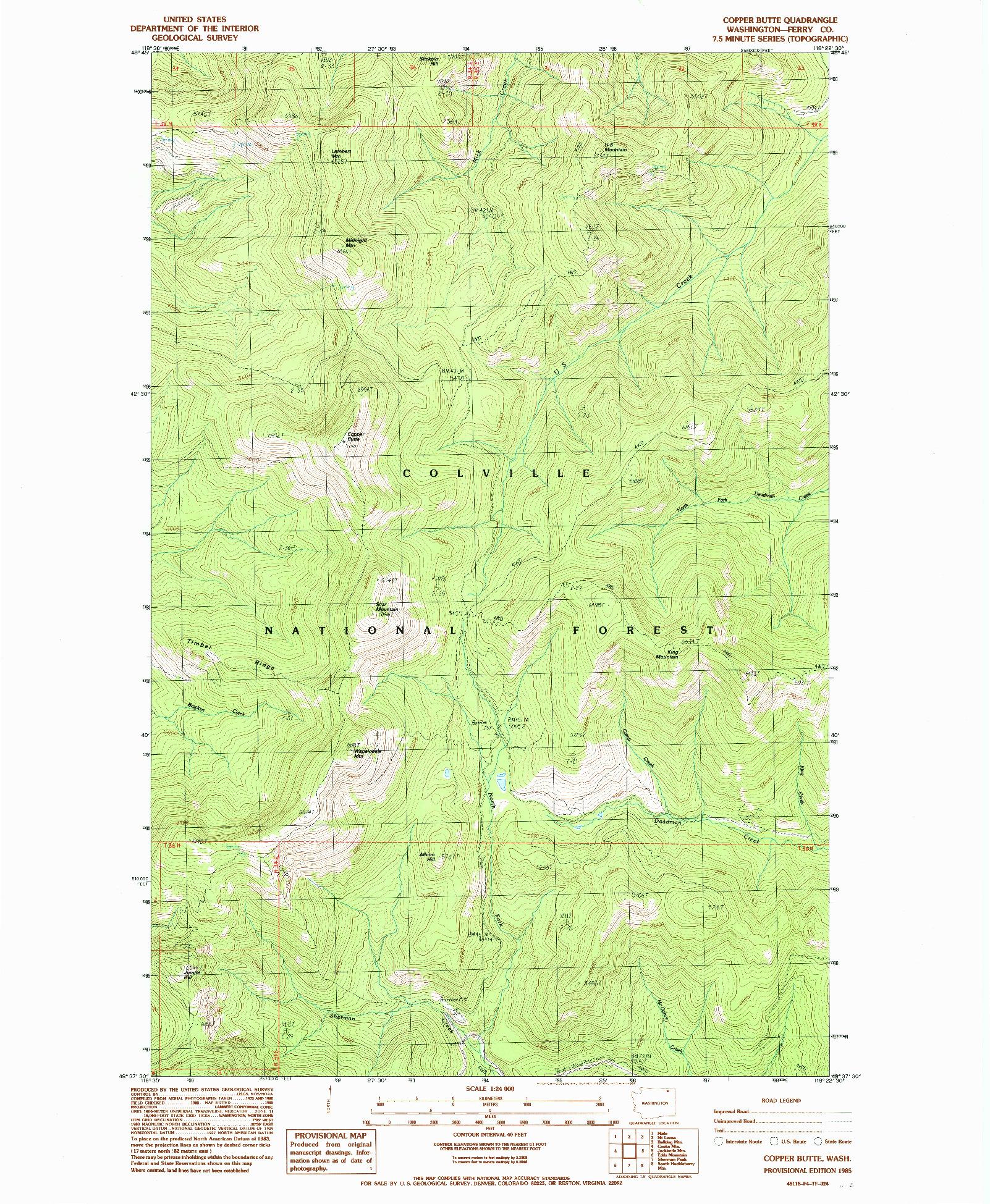 USGS 1:24000-SCALE QUADRANGLE FOR COPPER BUTTE, WA 1985