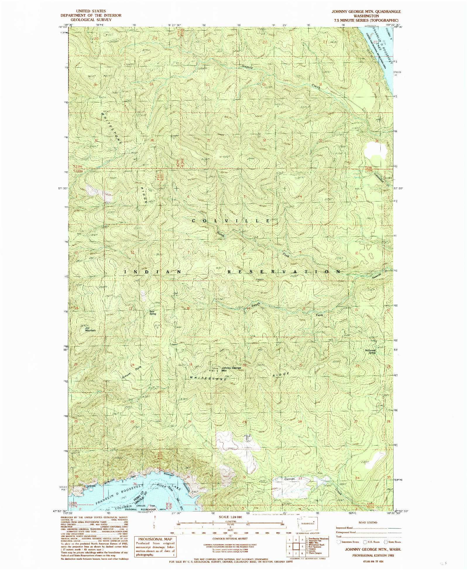 USGS 1:24000-SCALE QUADRANGLE FOR JOHNNY GEORGE MTN, WA 1985