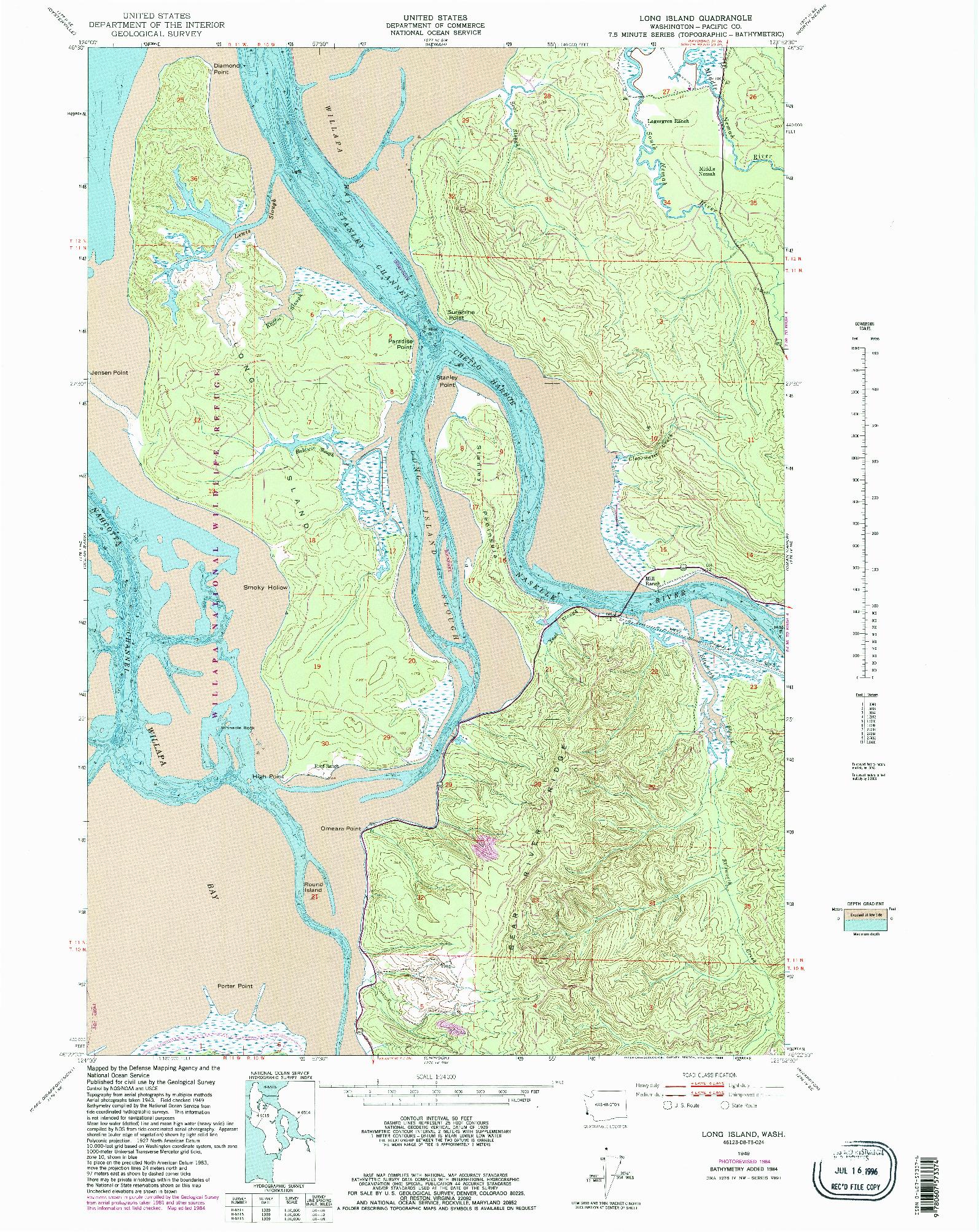 USGS 1:24000-SCALE QUADRANGLE FOR LONG ISLAND, WA 1949