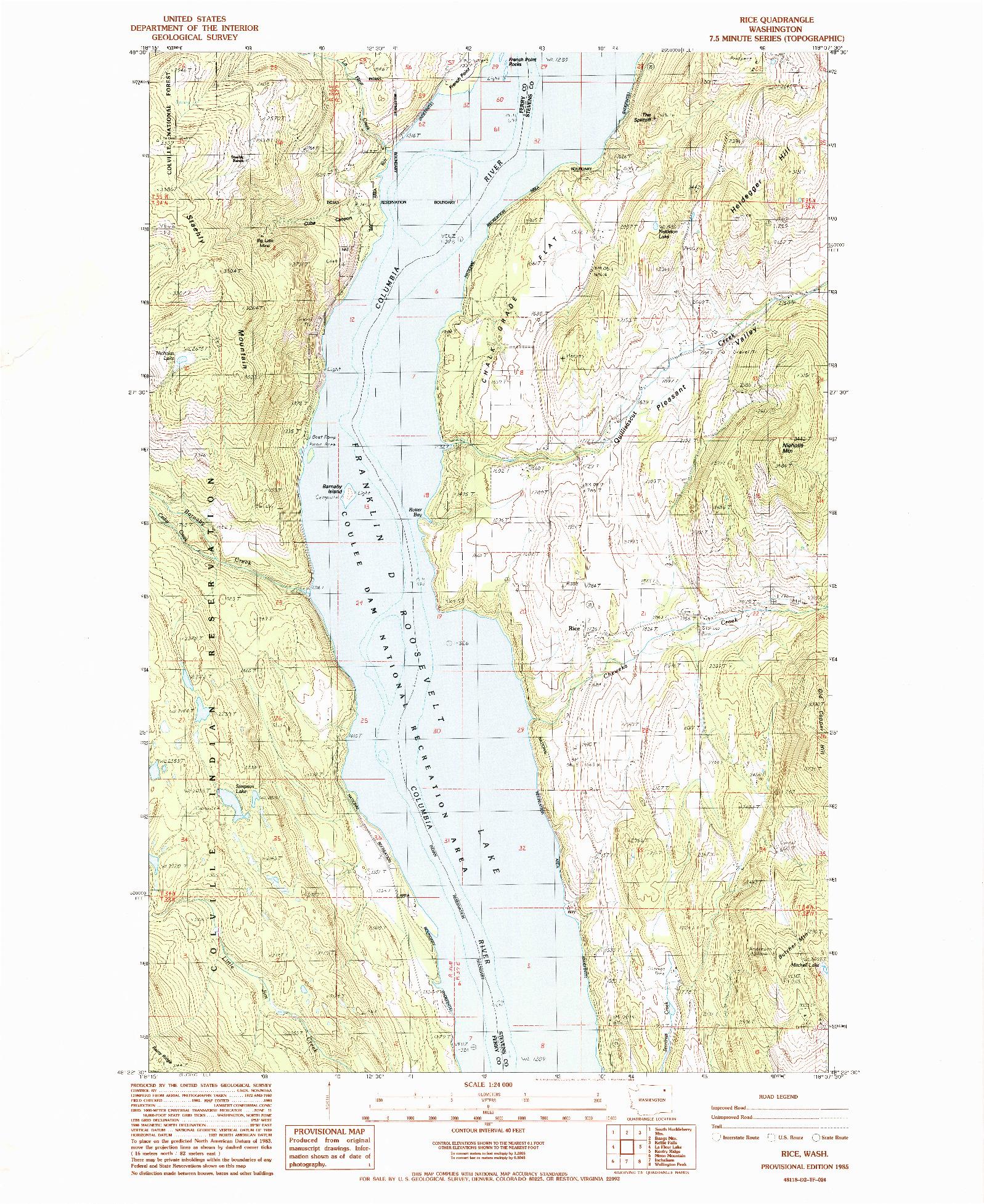 USGS 1:24000-SCALE QUADRANGLE FOR RICE, WA 1985