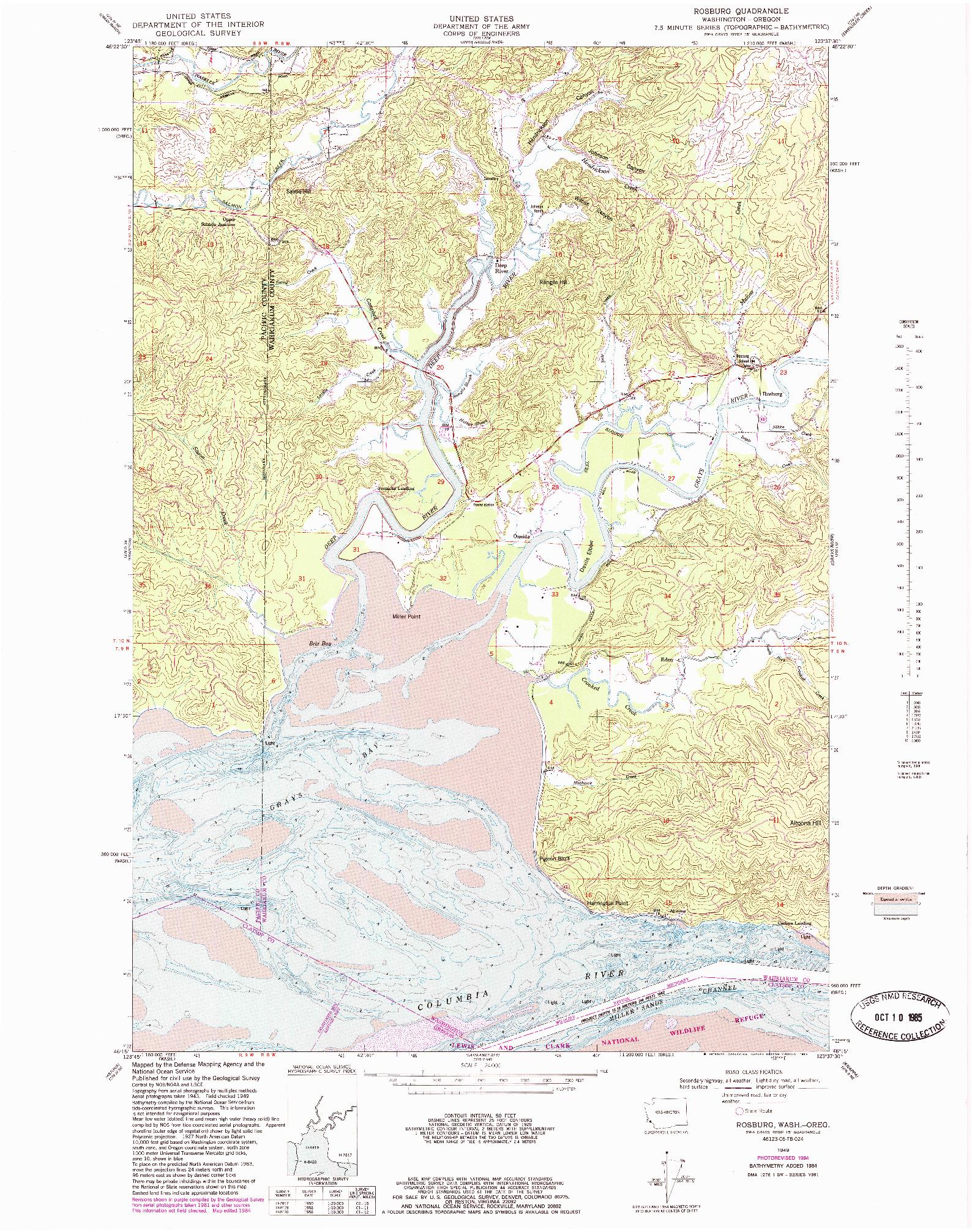 USGS 1:24000-SCALE QUADRANGLE FOR ROSBURG, WA 1949