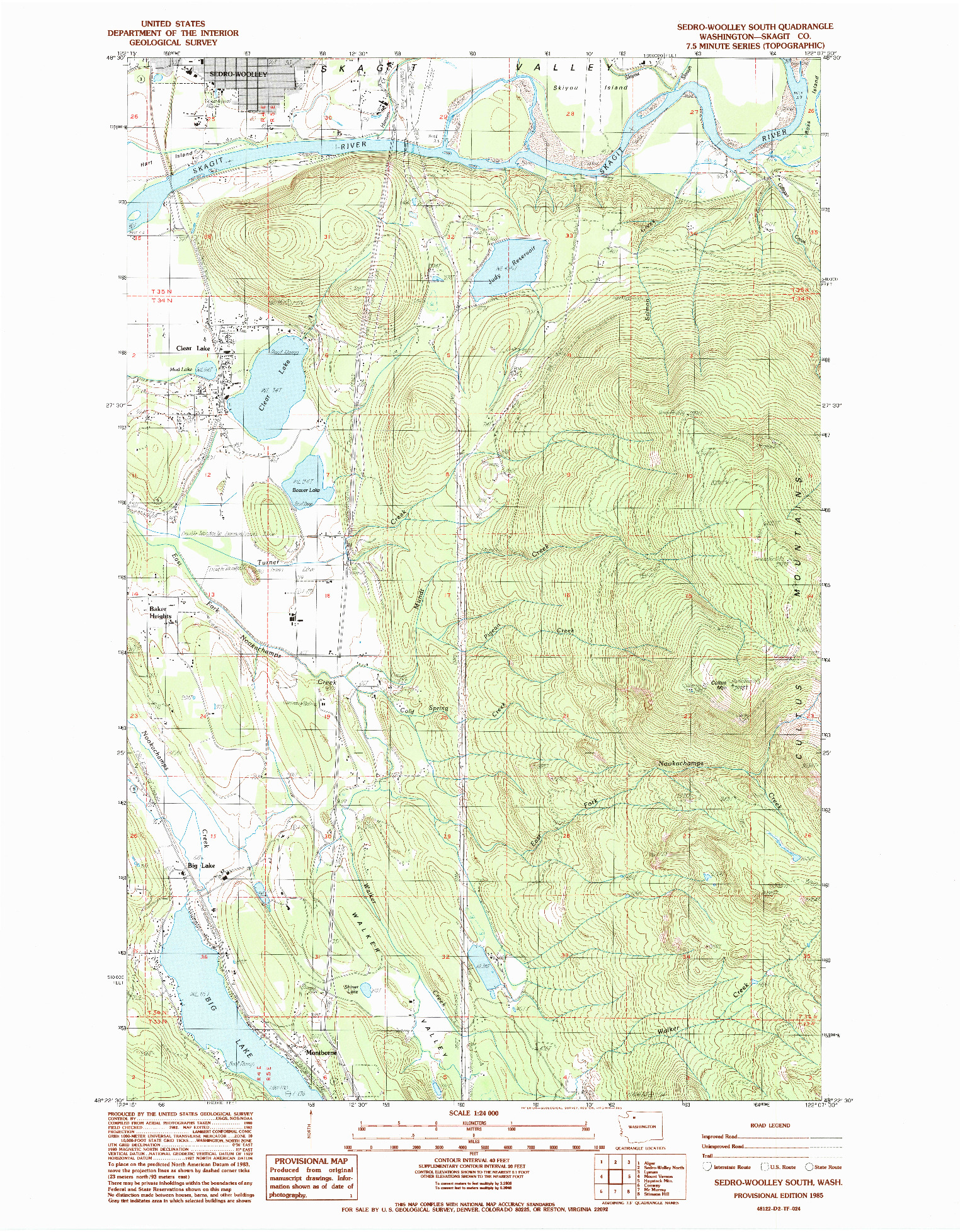 USGS 1:24000-SCALE QUADRANGLE FOR SEDRO-WOOLLEY SOUTH, WA 1985