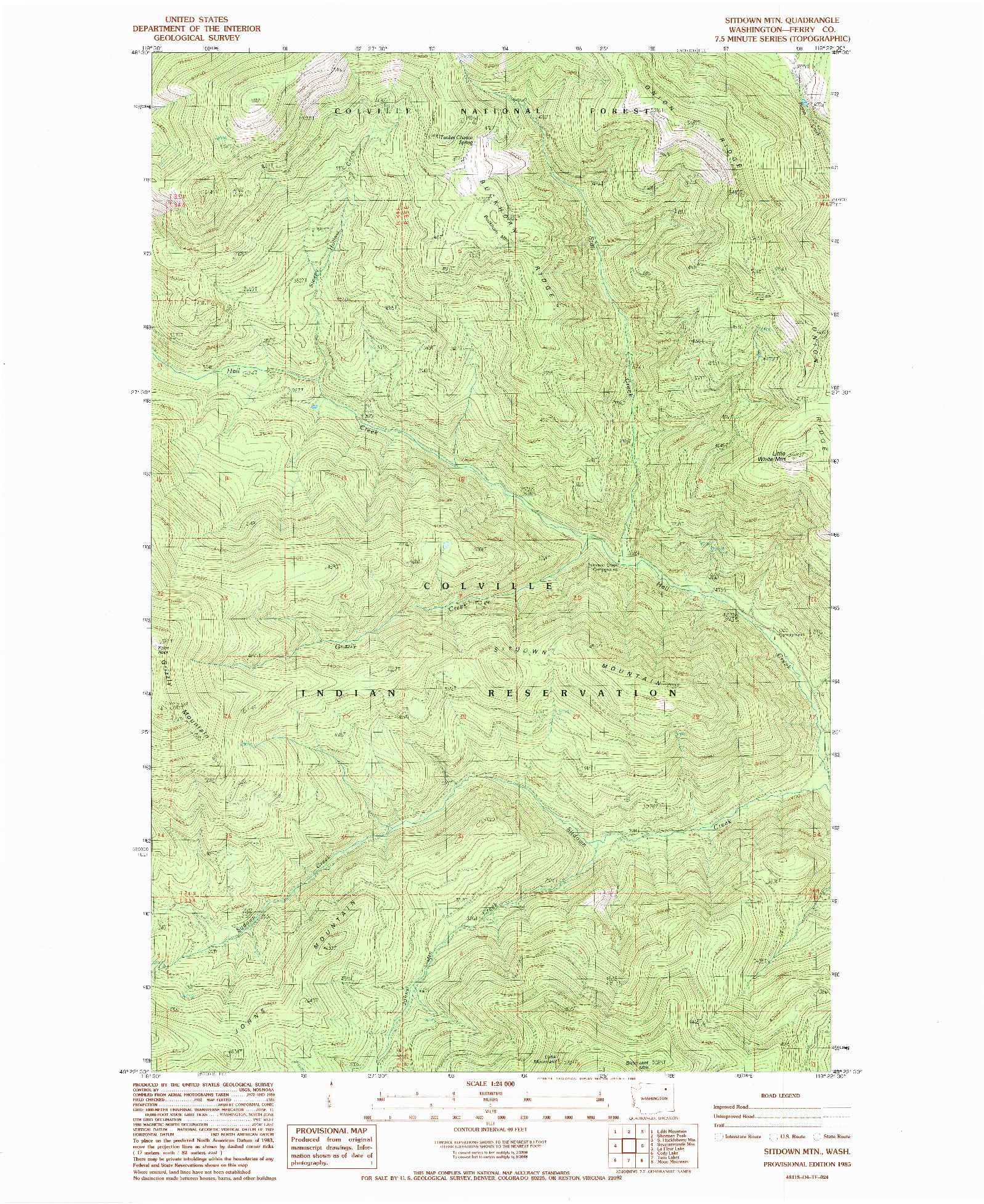 USGS 1:24000-SCALE QUADRANGLE FOR SITDOWN MTN, WA 1985