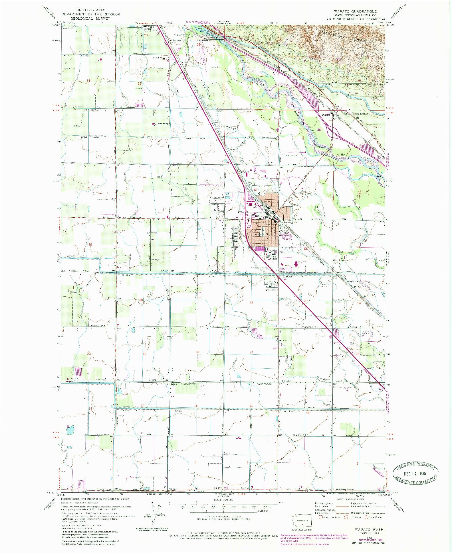 USGS 1:24000-SCALE QUADRANGLE FOR WAPATO, WA 1958