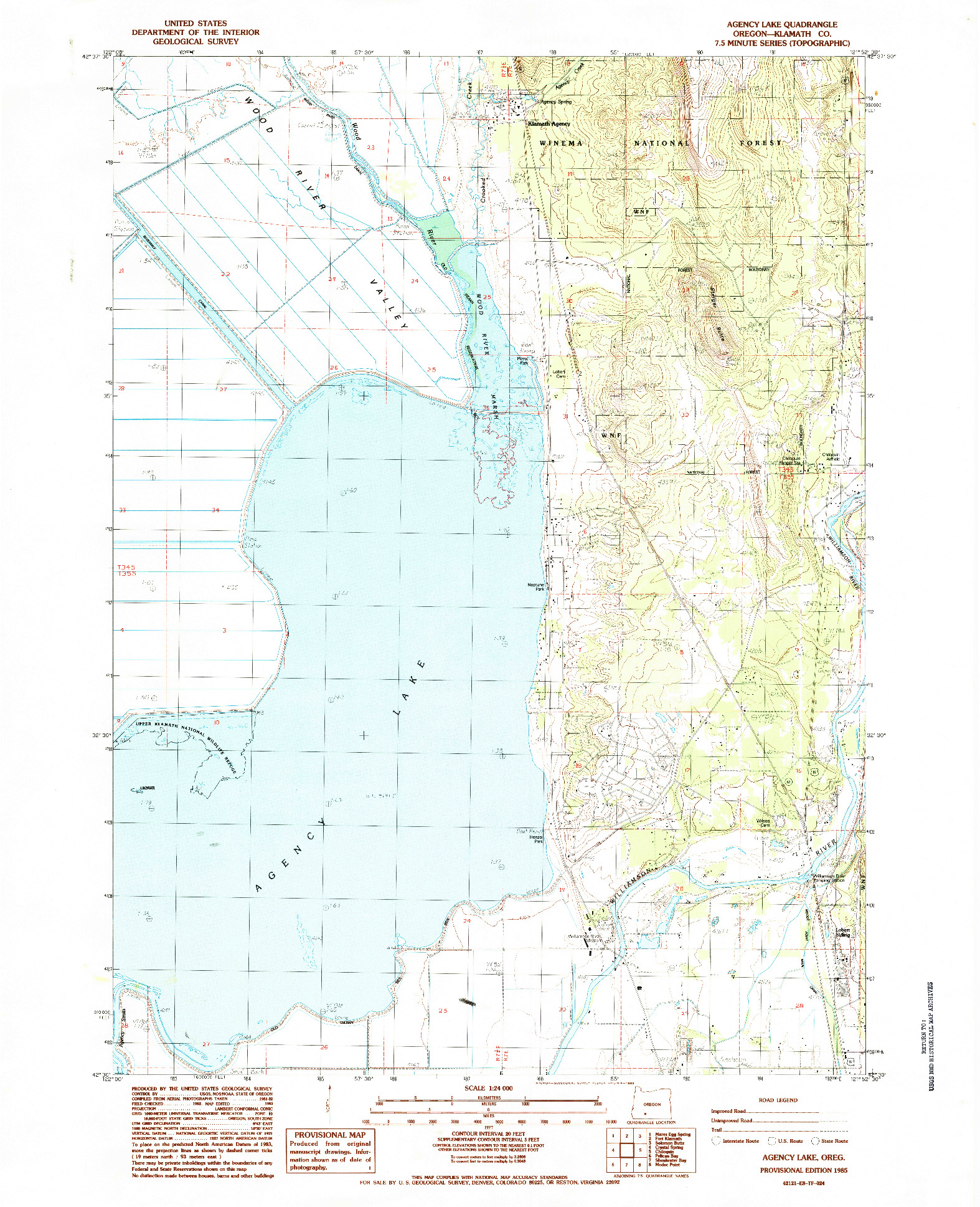 USGS 1:24000-SCALE QUADRANGLE FOR AGENCY LAKE, OR 1985