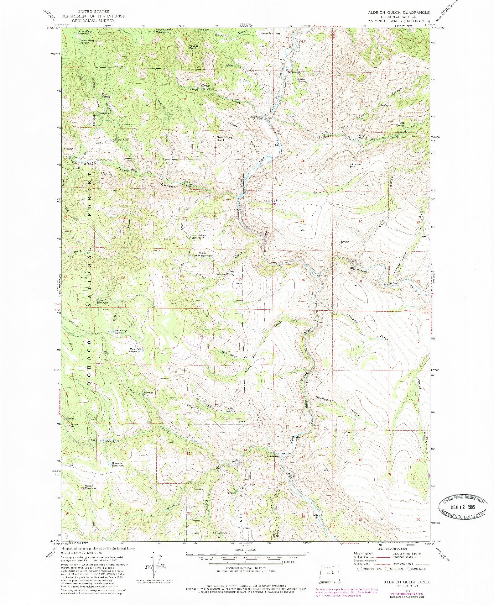 USGS 1:24000-SCALE QUADRANGLE FOR ALDRICH GULCH, OR 1972