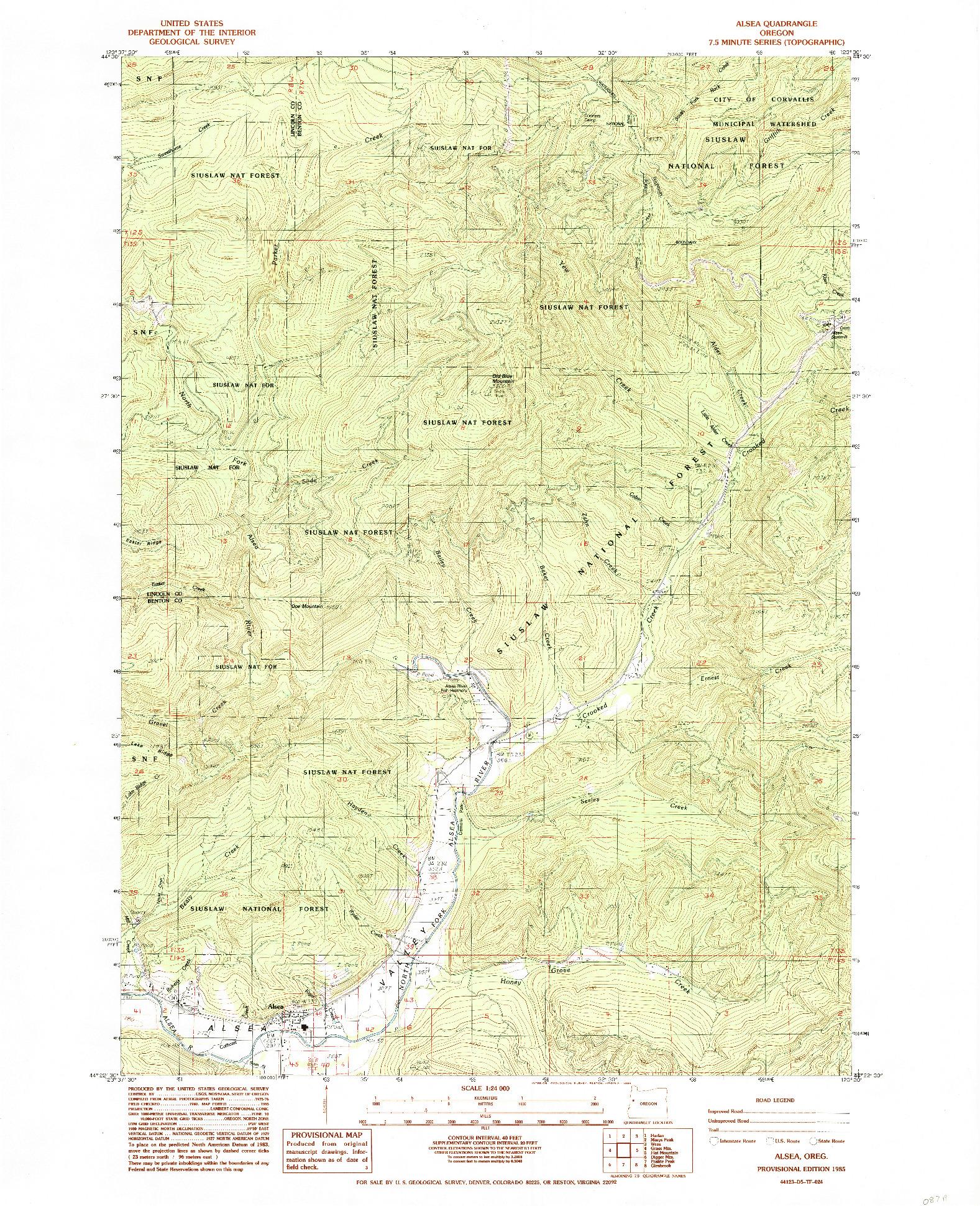 USGS 1:24000-SCALE QUADRANGLE FOR ALSEA, OR 1985