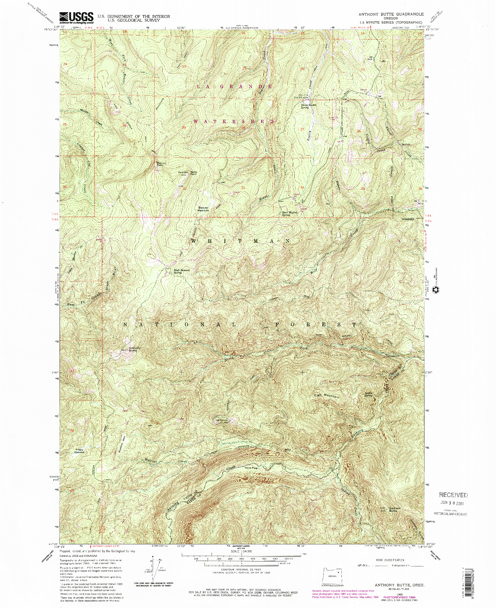 USGS 1:24000-SCALE QUADRANGLE FOR ANTHONY BUTTE, OR 1965