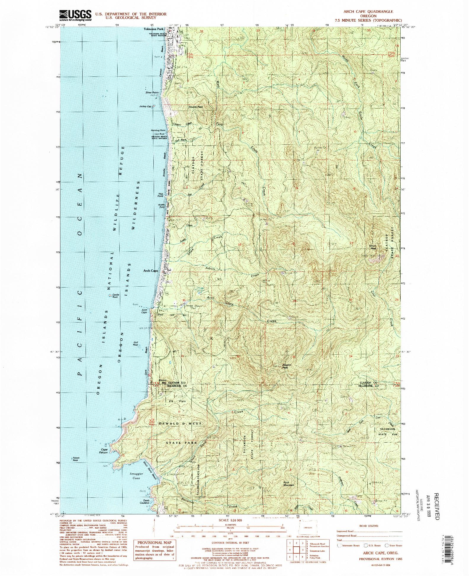 USGS 1:24000-SCALE QUADRANGLE FOR ARCH CAPE, OR 1985