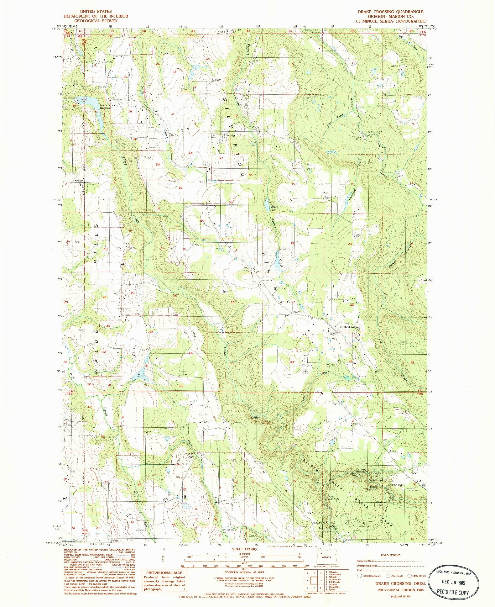 USGS 1:24000-SCALE QUADRANGLE FOR DRAKE CROSSING, OR 1985