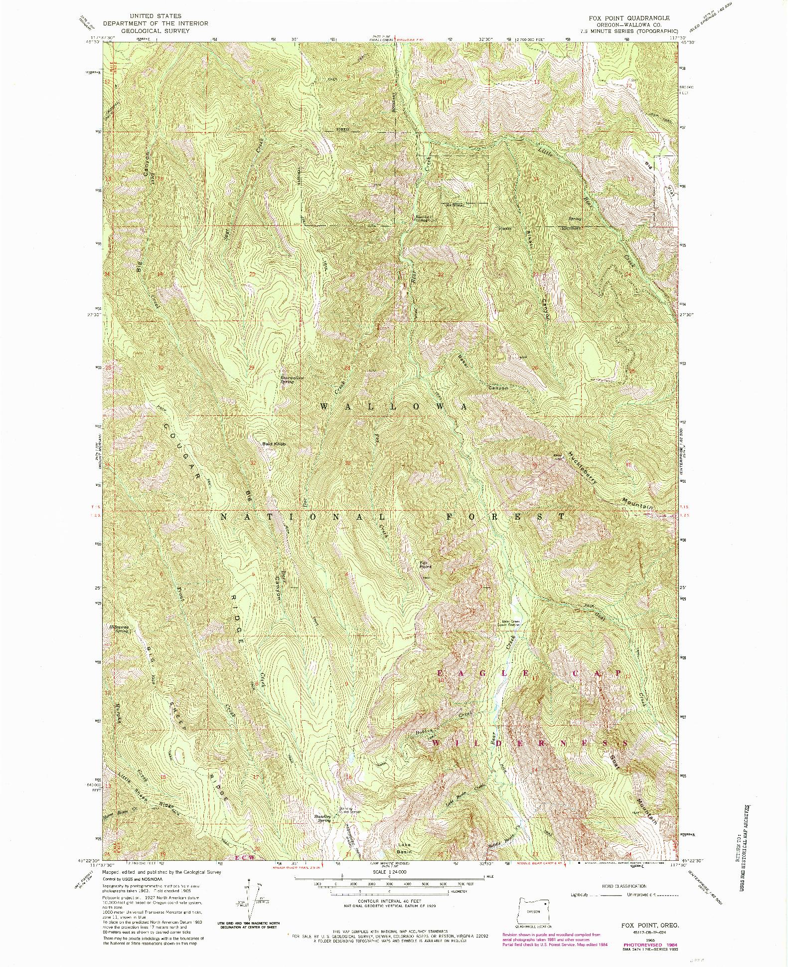 USGS 1:24000-SCALE QUADRANGLE FOR FOX POINT, OR 1965