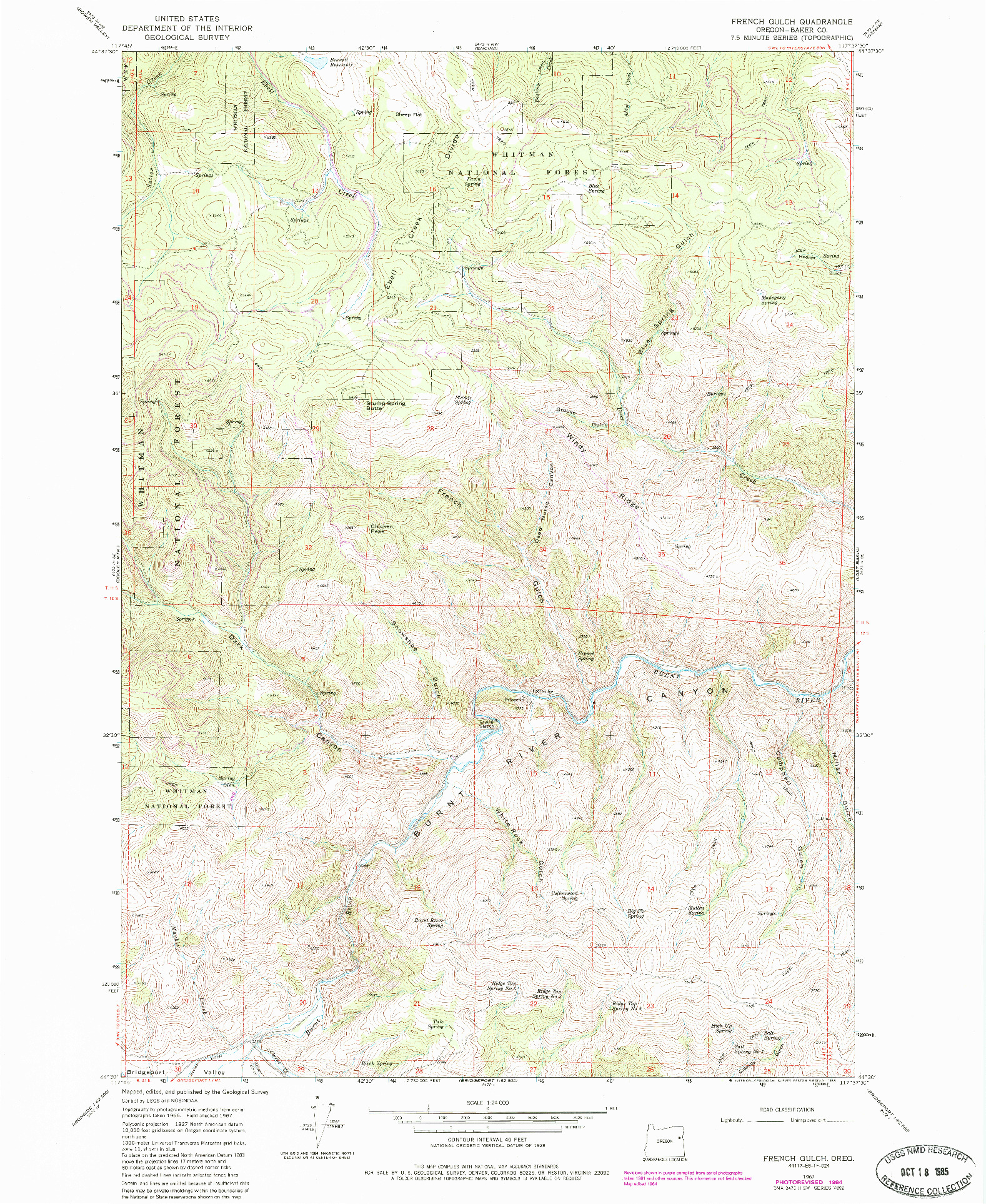 USGS 1:24000-SCALE QUADRANGLE FOR FRENCH GULCH, OR 1967