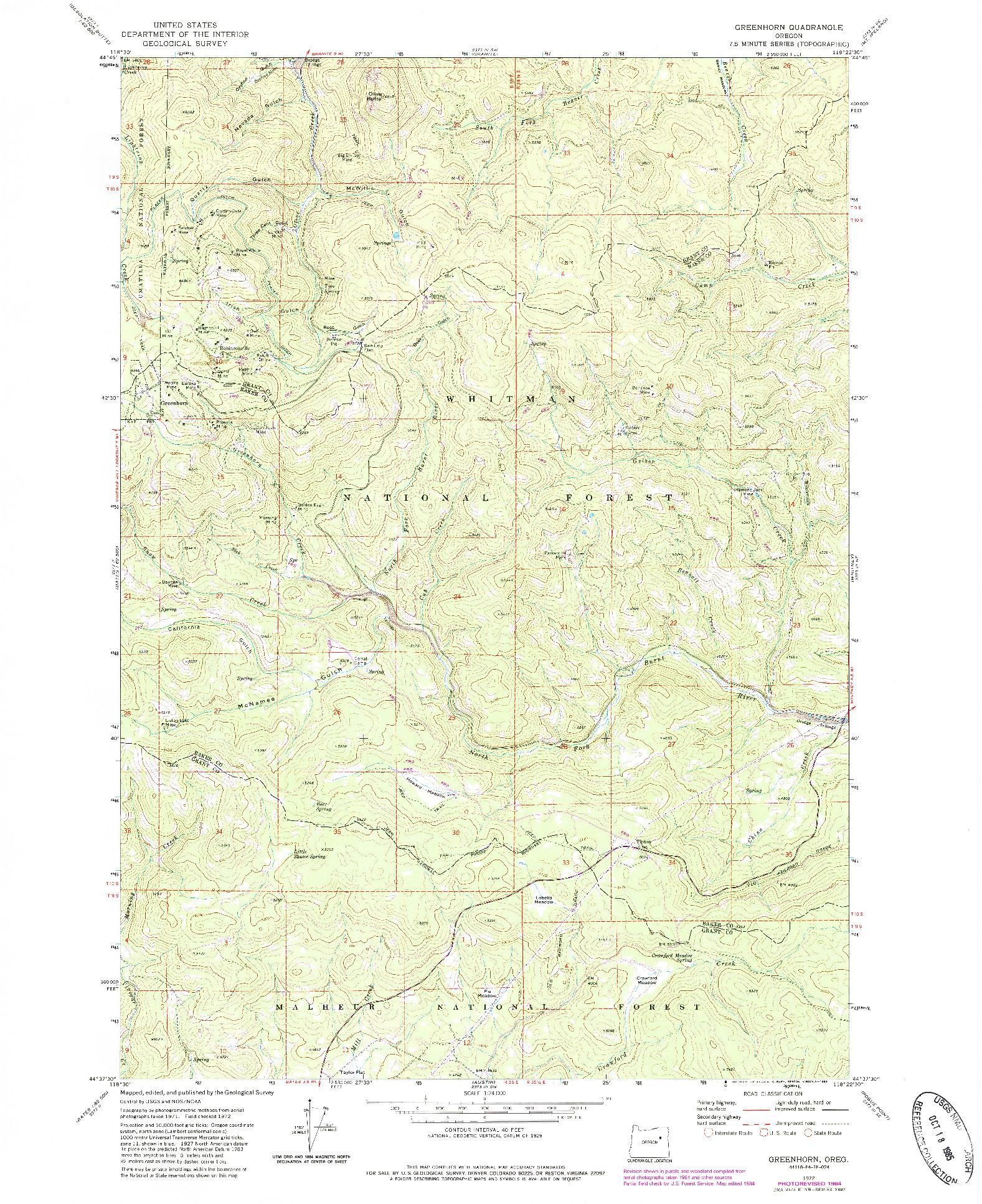 USGS 1:24000-SCALE QUADRANGLE FOR GREENHORN, OR 1972