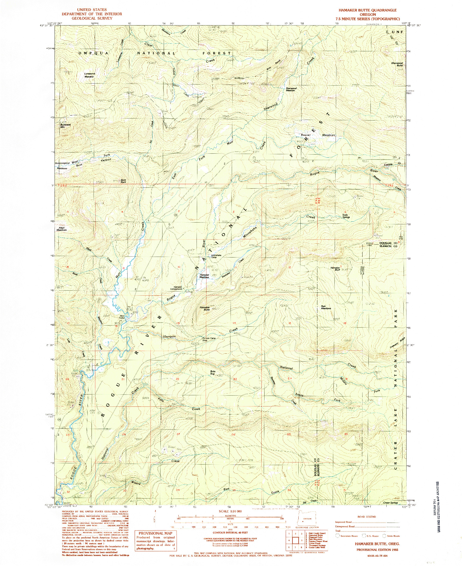 USGS 1:24000-SCALE QUADRANGLE FOR HAMAKER BUTTE, OR 1985