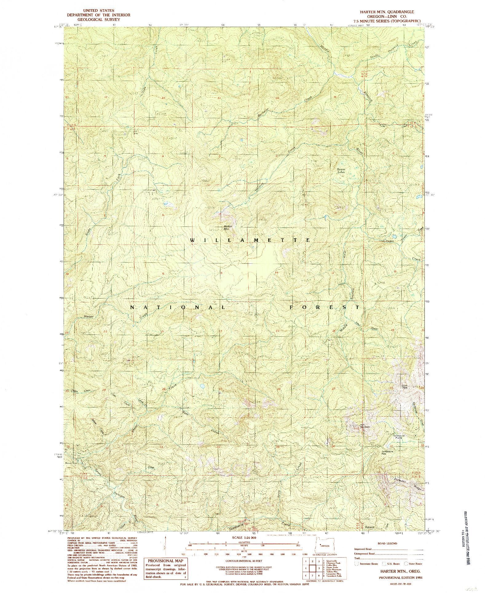 USGS 1:24000-SCALE QUADRANGLE FOR HARTER MTN, OR 1984