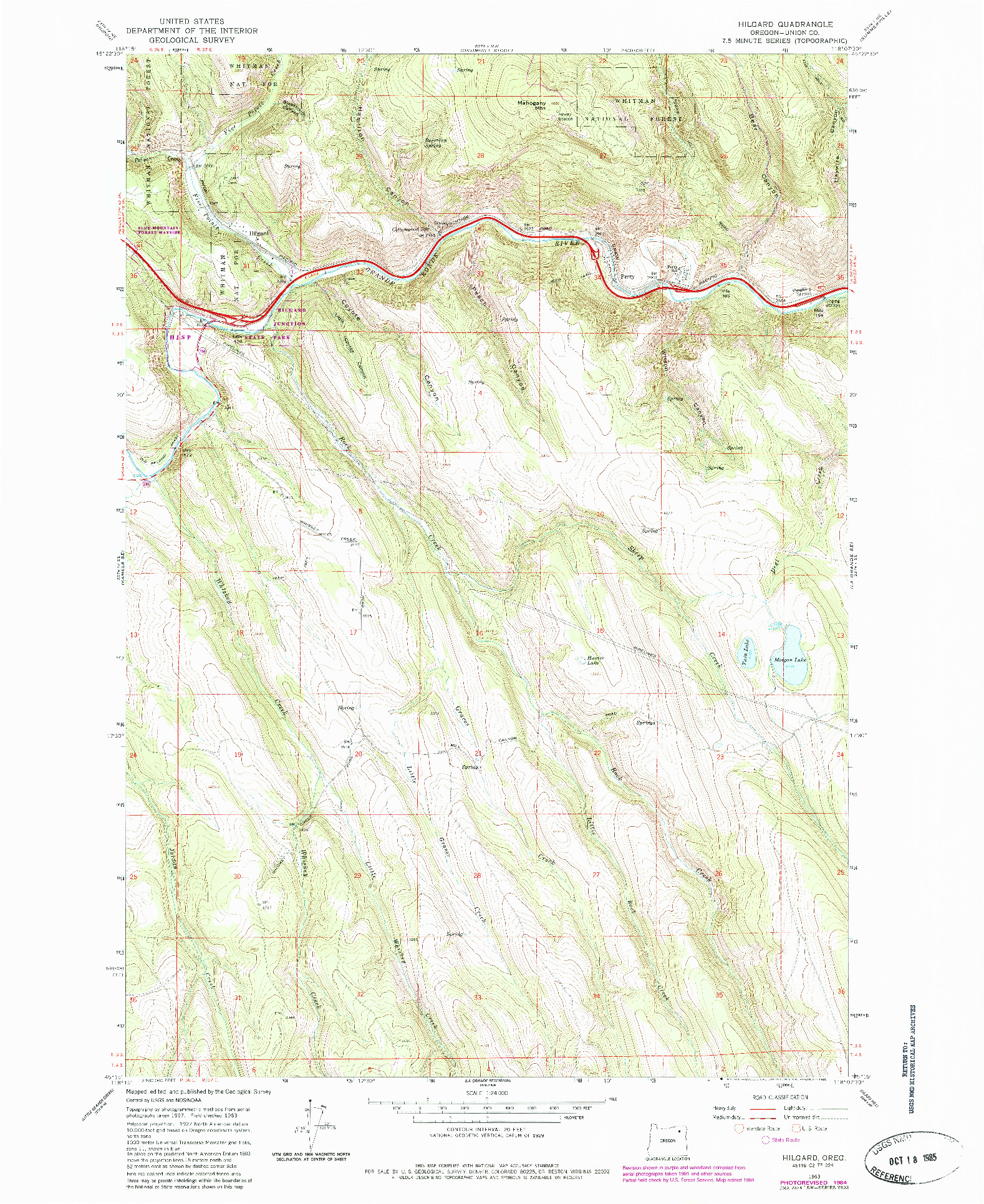 USGS 1:24000-SCALE QUADRANGLE FOR HILGARD, OR 1963