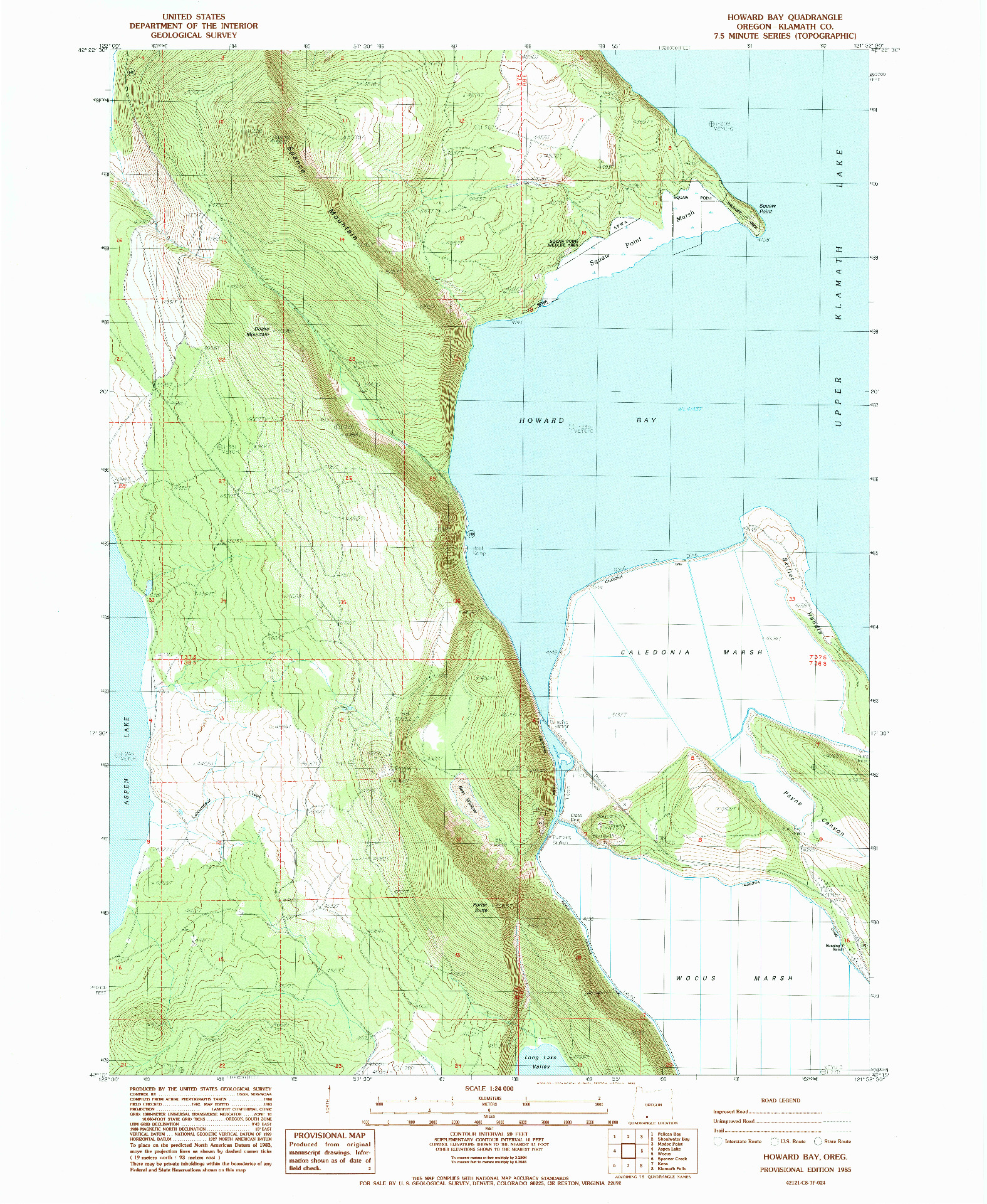 USGS 1:24000-SCALE QUADRANGLE FOR HOWARD BAY, OR 1985