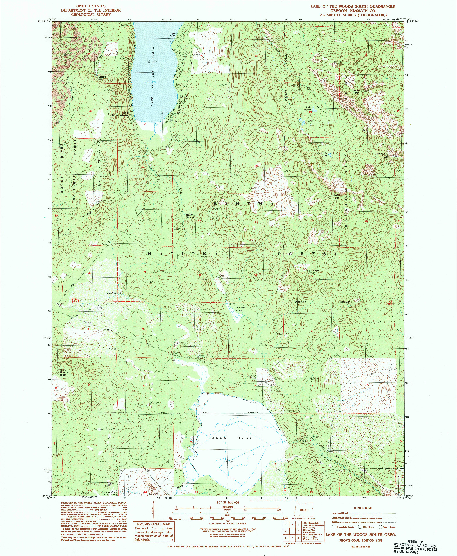 USGS 1:24000-SCALE QUADRANGLE FOR LAKE OF THE WOODS SOUTH, OR 1985