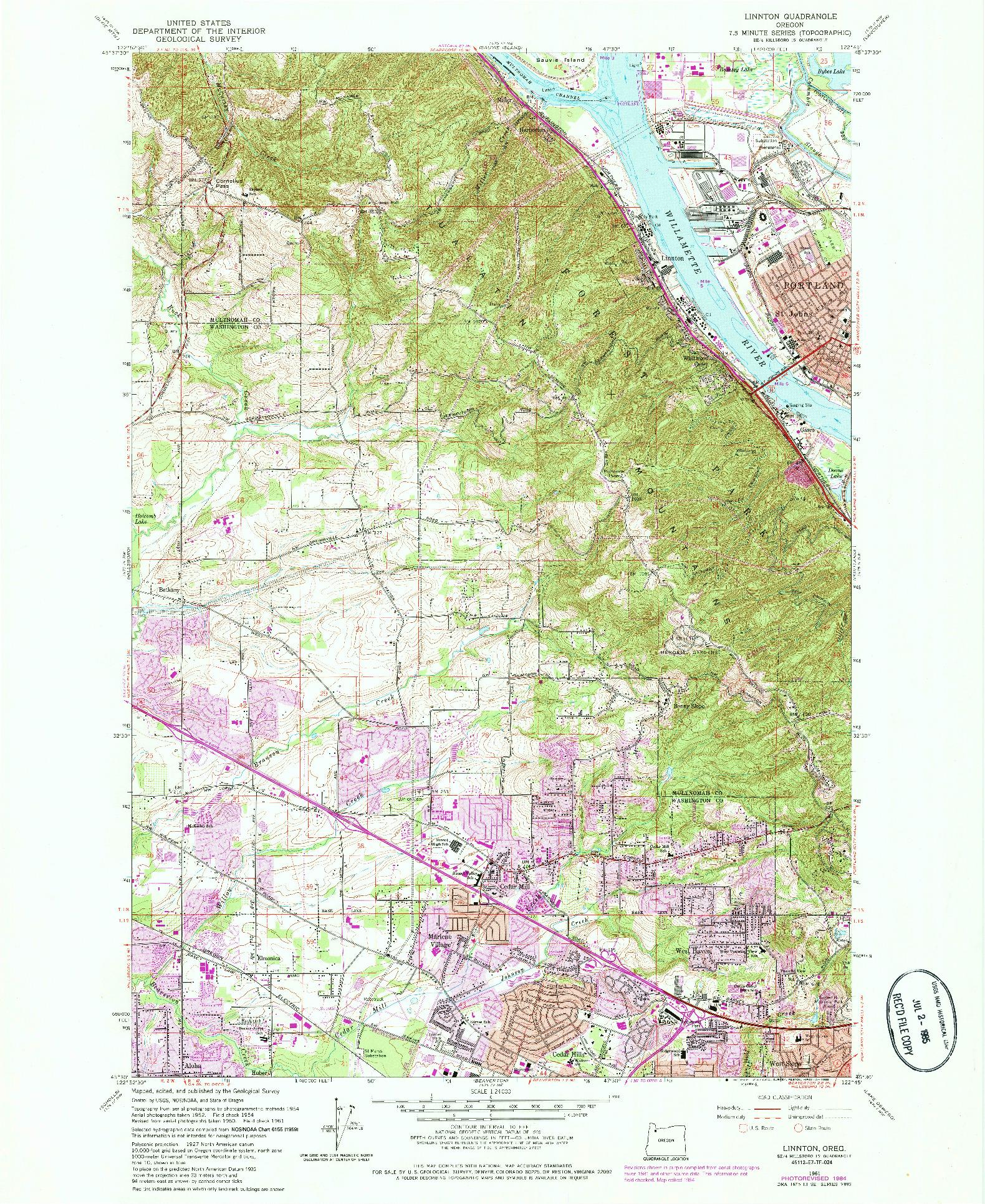 USGS 1:24000-SCALE QUADRANGLE FOR LINNTON, OR 1961