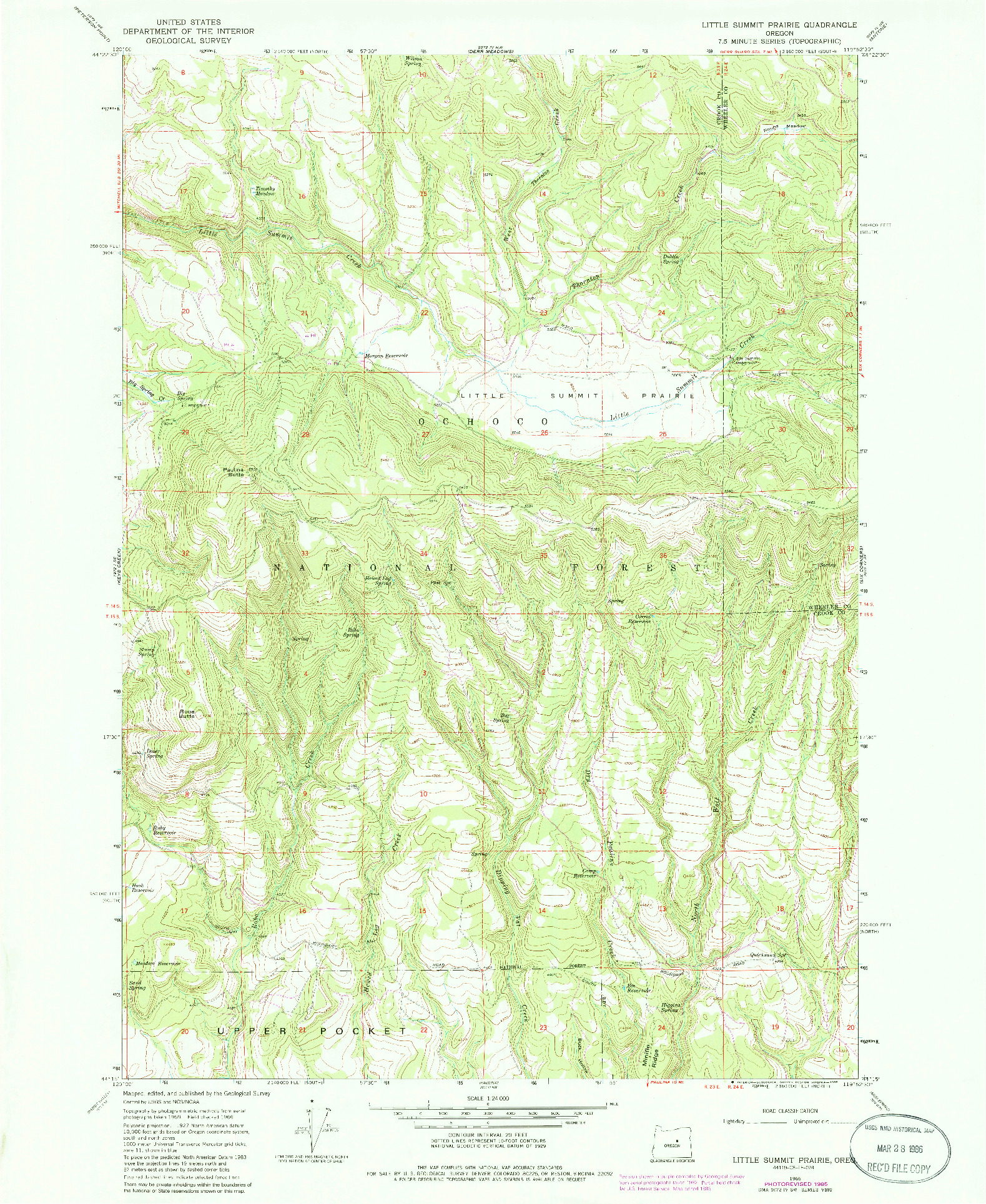 USGS 1:24000-SCALE QUADRANGLE FOR LITTLE SUMMIT PRAIRIE, OR 1966