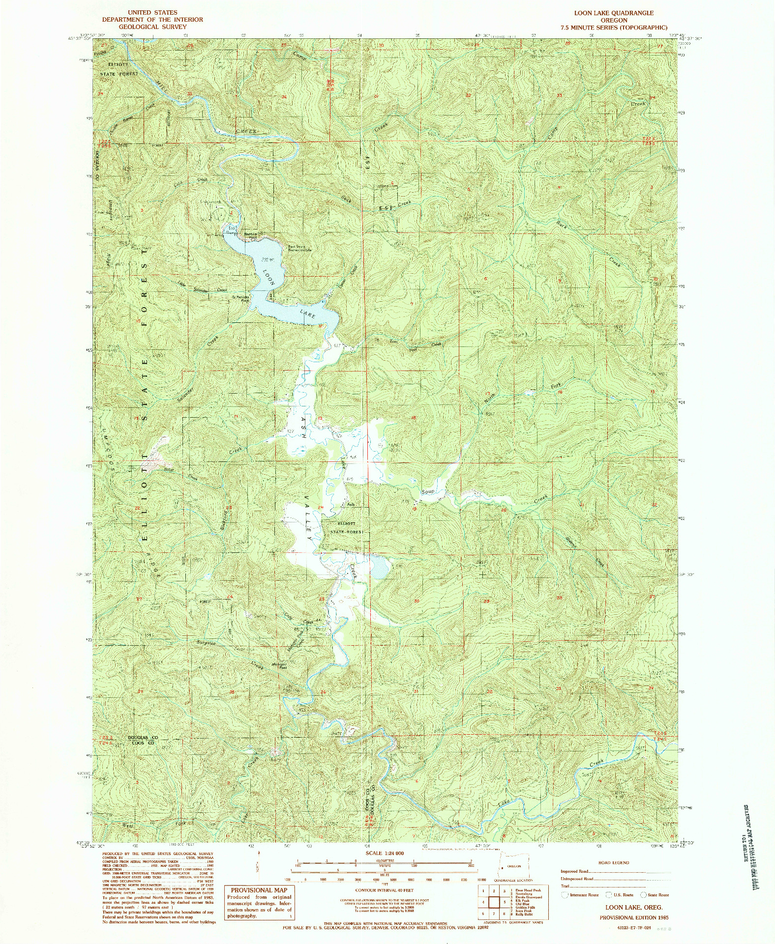 USGS 1:24000-SCALE QUADRANGLE FOR LOON LAKE, OR 1985