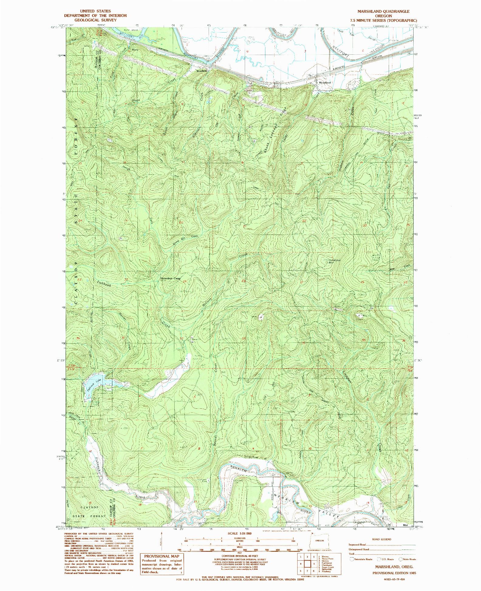 USGS 1:24000-SCALE QUADRANGLE FOR MARSHLAND, OR 1985