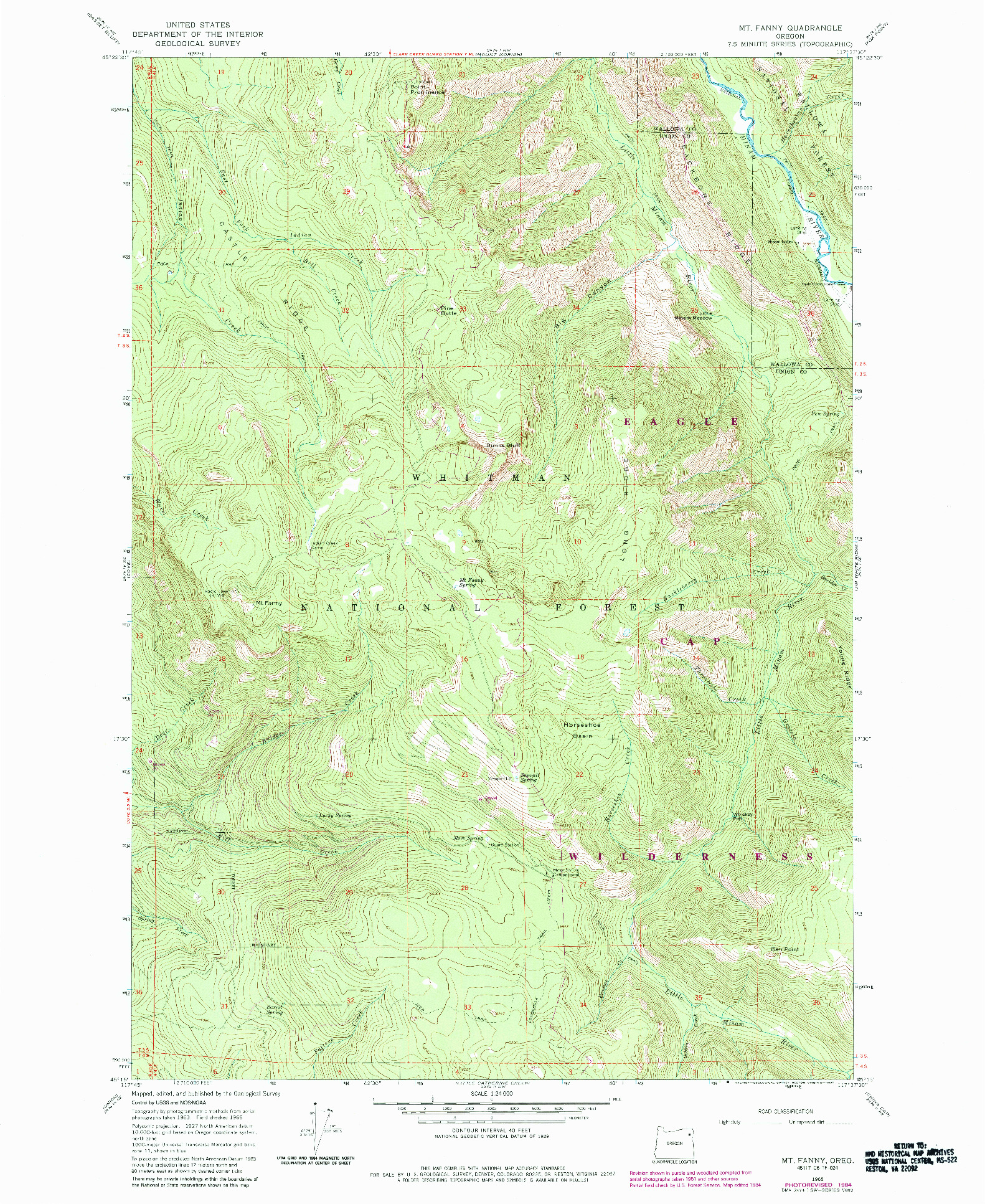 USGS 1:24000-SCALE QUADRANGLE FOR MT. FANNY, OR 1965