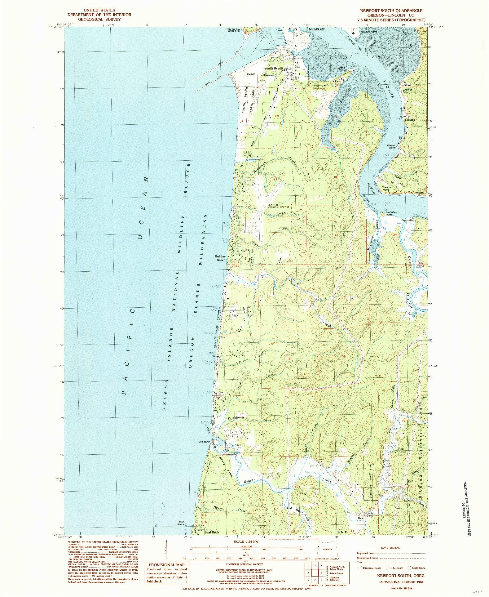 USGS 1:24000-SCALE QUADRANGLE FOR NEWPORT SOUTH, OR 1984