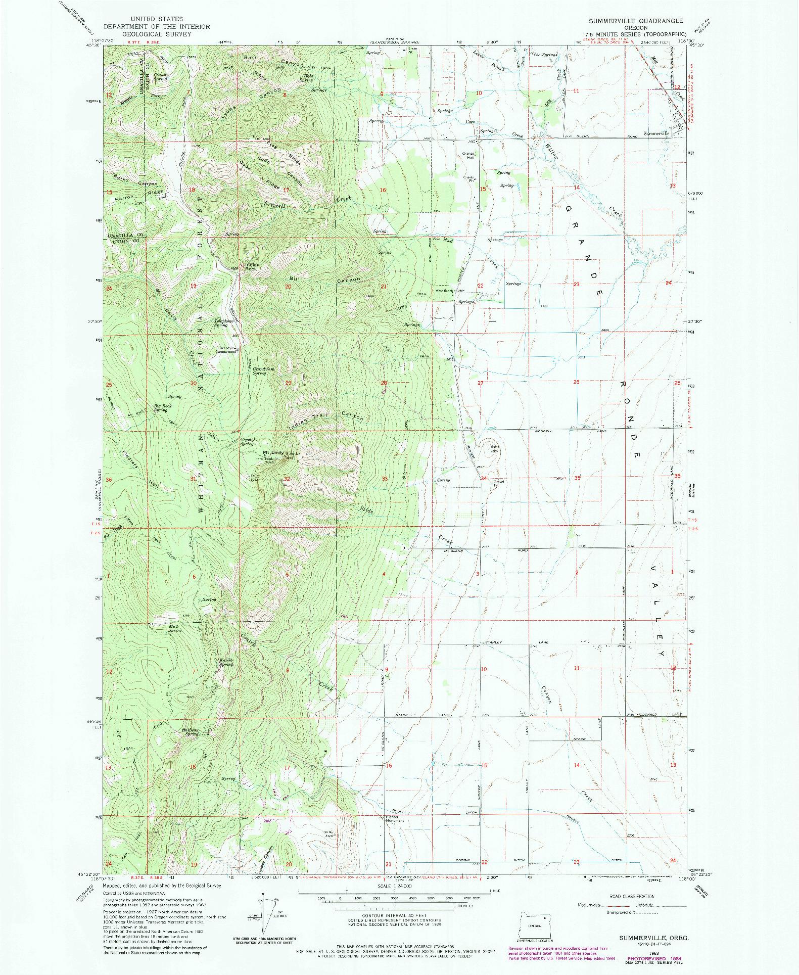 USGS 1:24000-SCALE QUADRANGLE FOR SUMMERVILLE, OR 1963