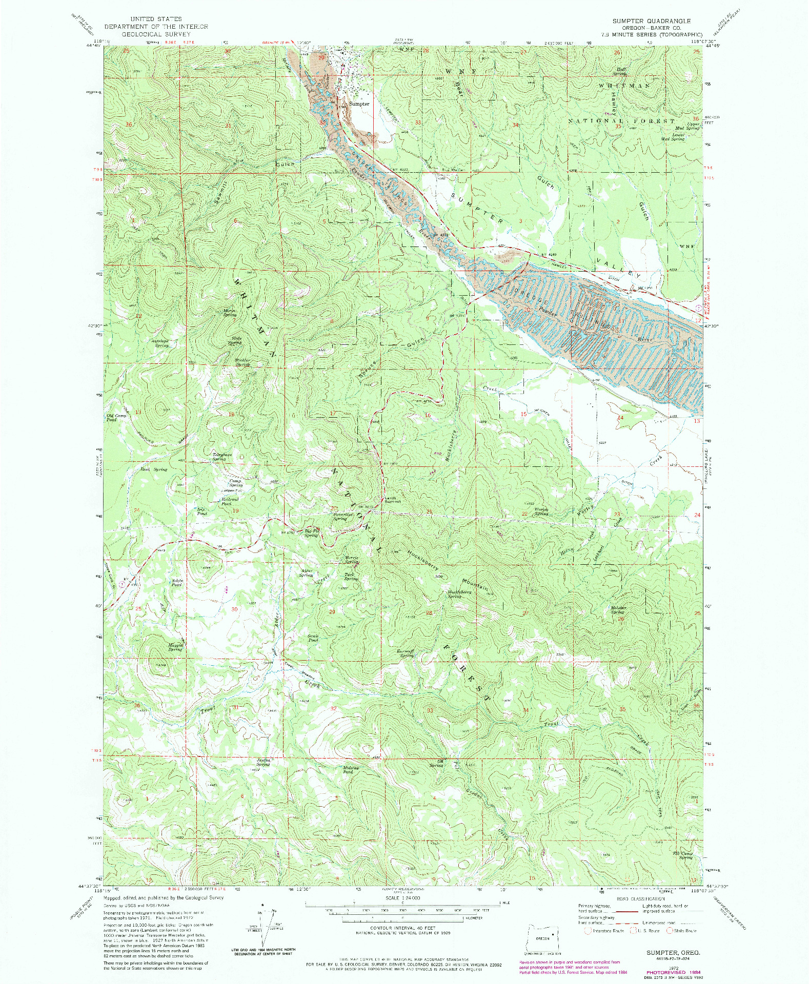 USGS 1:24000-SCALE QUADRANGLE FOR SUMPTER, OR 1972
