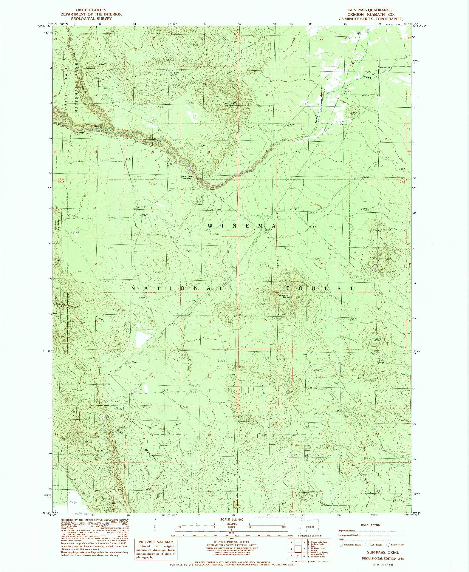 USGS 1:24000-SCALE QUADRANGLE FOR SUN PASS, OR 1985