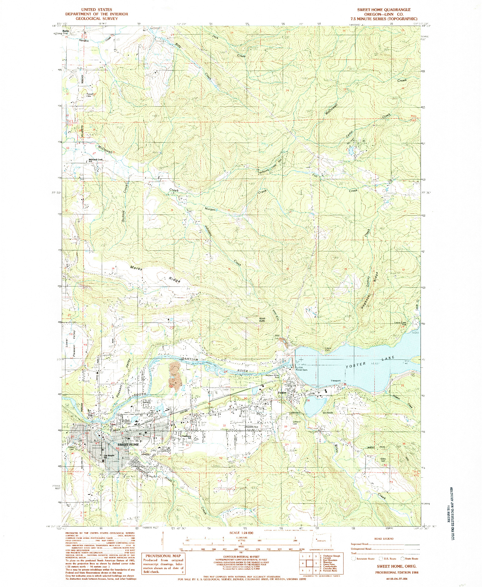 USGS 1:24000-SCALE QUADRANGLE FOR SWEET HOME, OR 1984