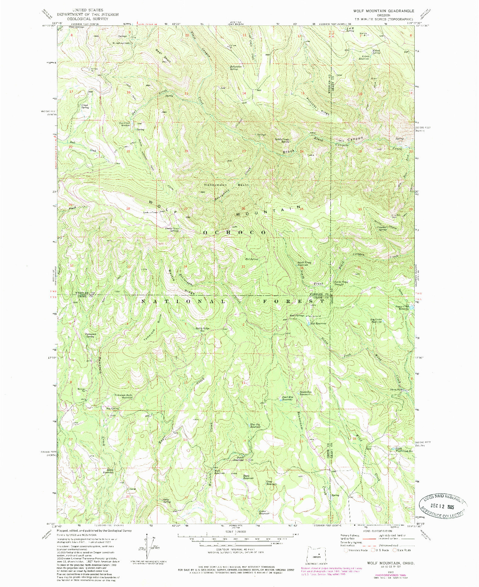 USGS 1:24000-SCALE QUADRANGLE FOR WOLF MOUNTAIN, OR 1972