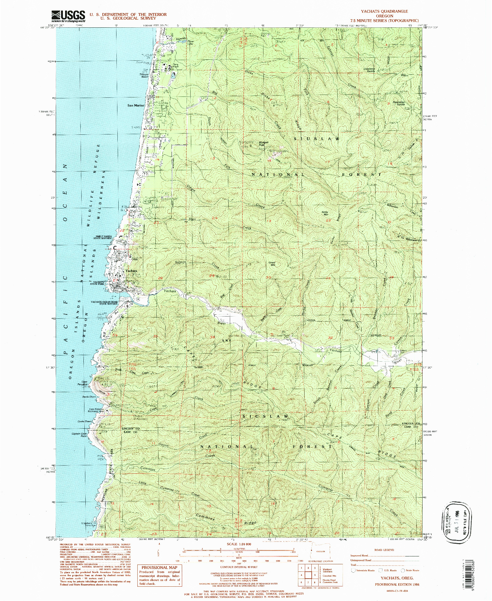 USGS 1:24000-SCALE QUADRANGLE FOR YACHATS, OR 1984