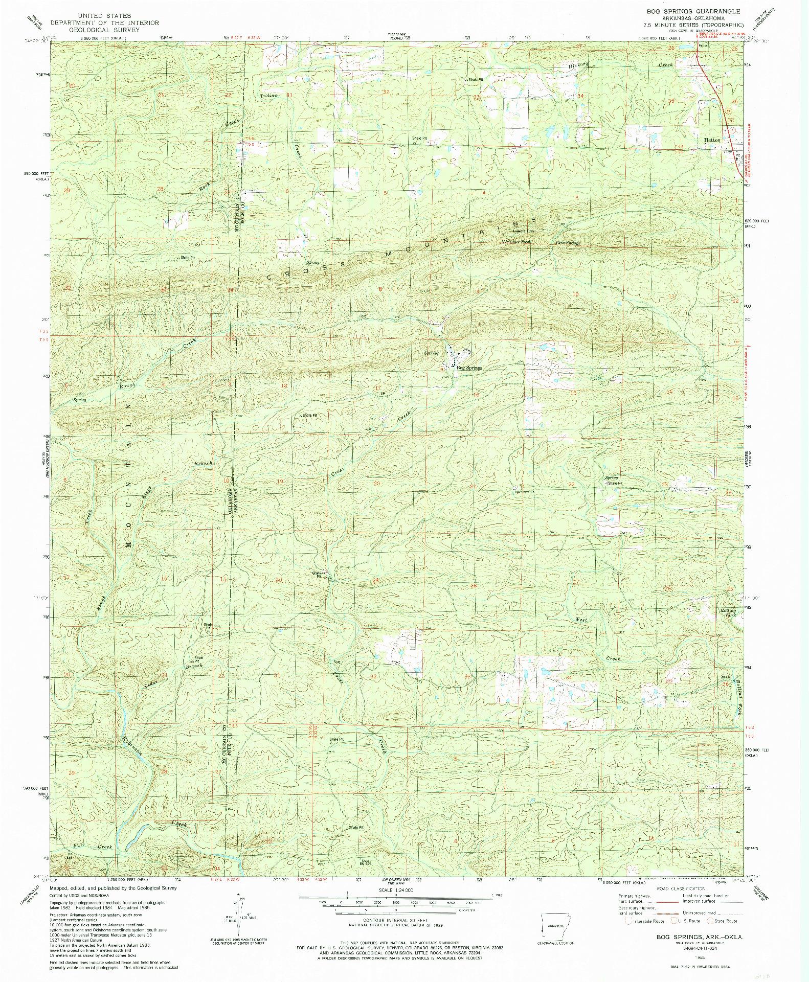USGS 1:24000-SCALE QUADRANGLE FOR BOG SPRINGS, AR 1985